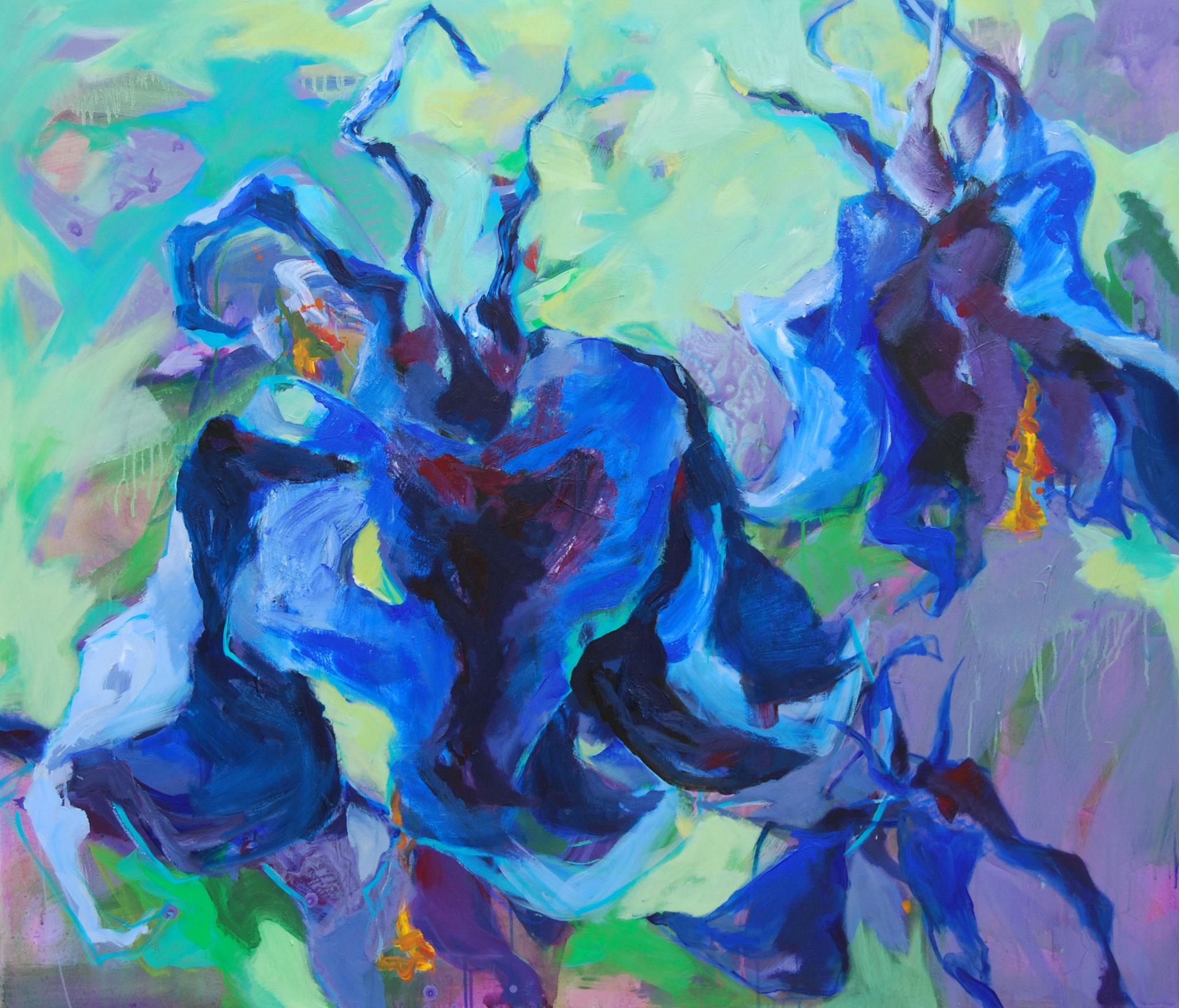 Aquilegias, 2016, Acryl auf Leinwand, 120 x 140 cm,