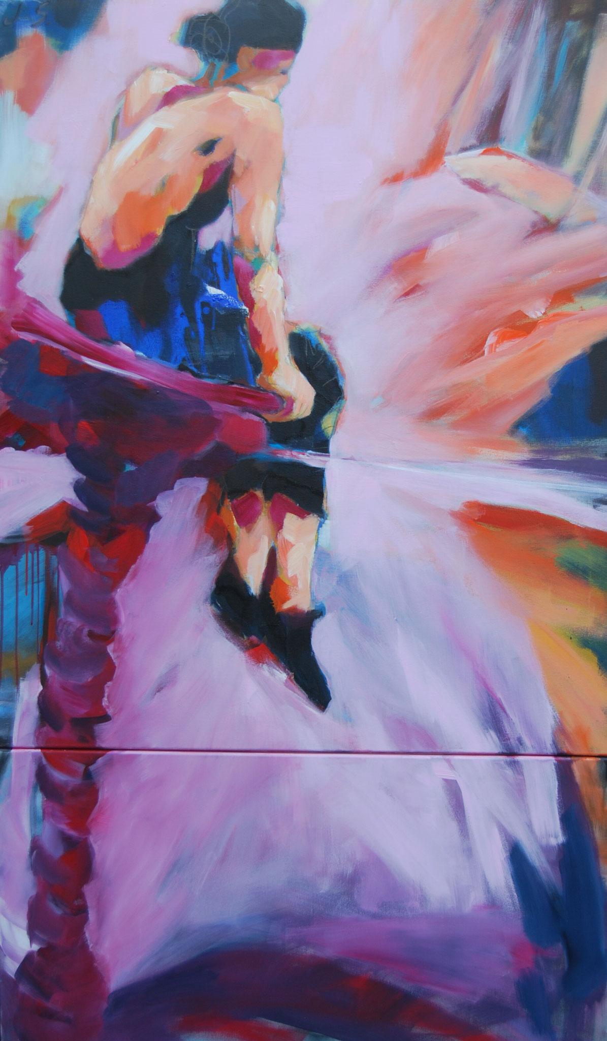 Vor dem Tanz auf dem Seil, 2012, Acryl auf Leinwand, zweiteilig 140 x 100 cm