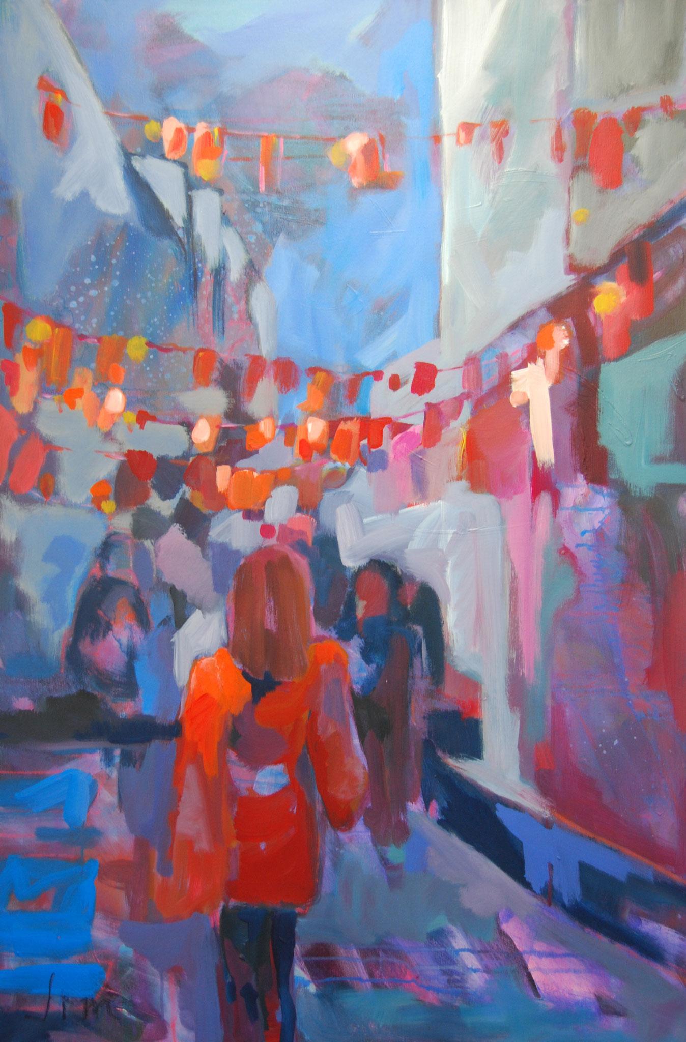 Nachteulen, 2017, Acryl auf Leinwand, 120 x 80 cm