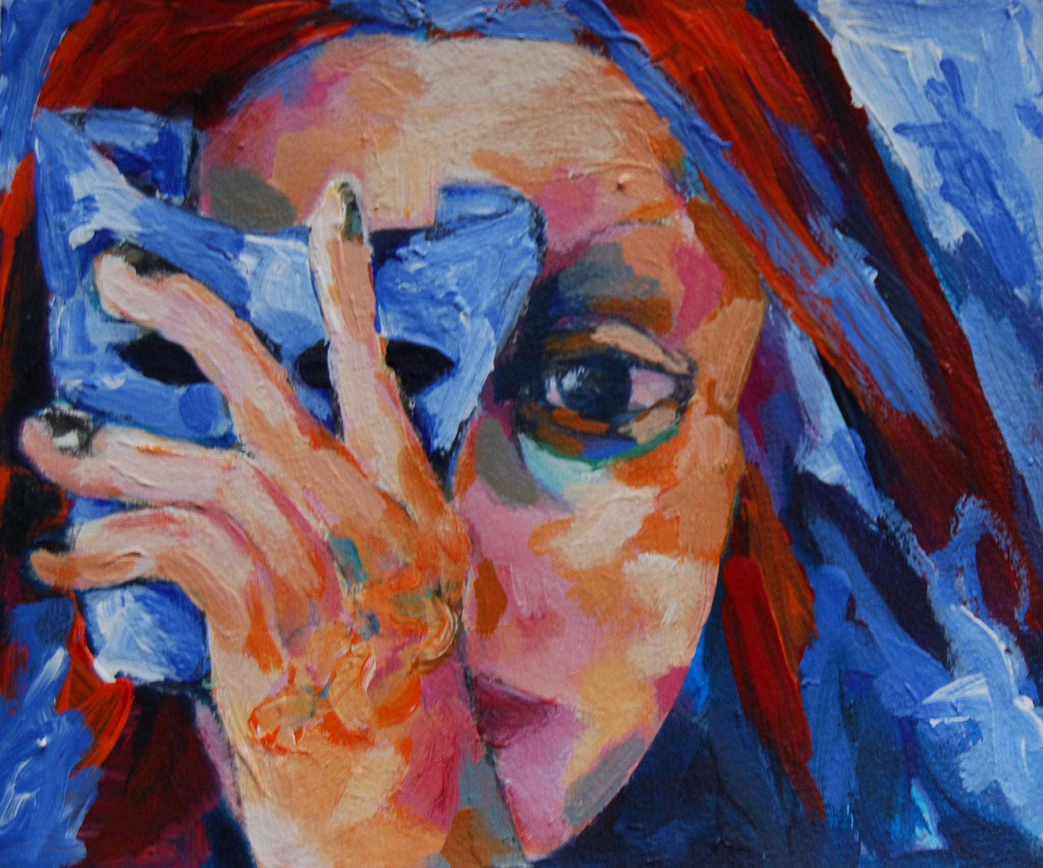 Maskerade, 2018, Acryl auf Papier, 20 x 23 cm