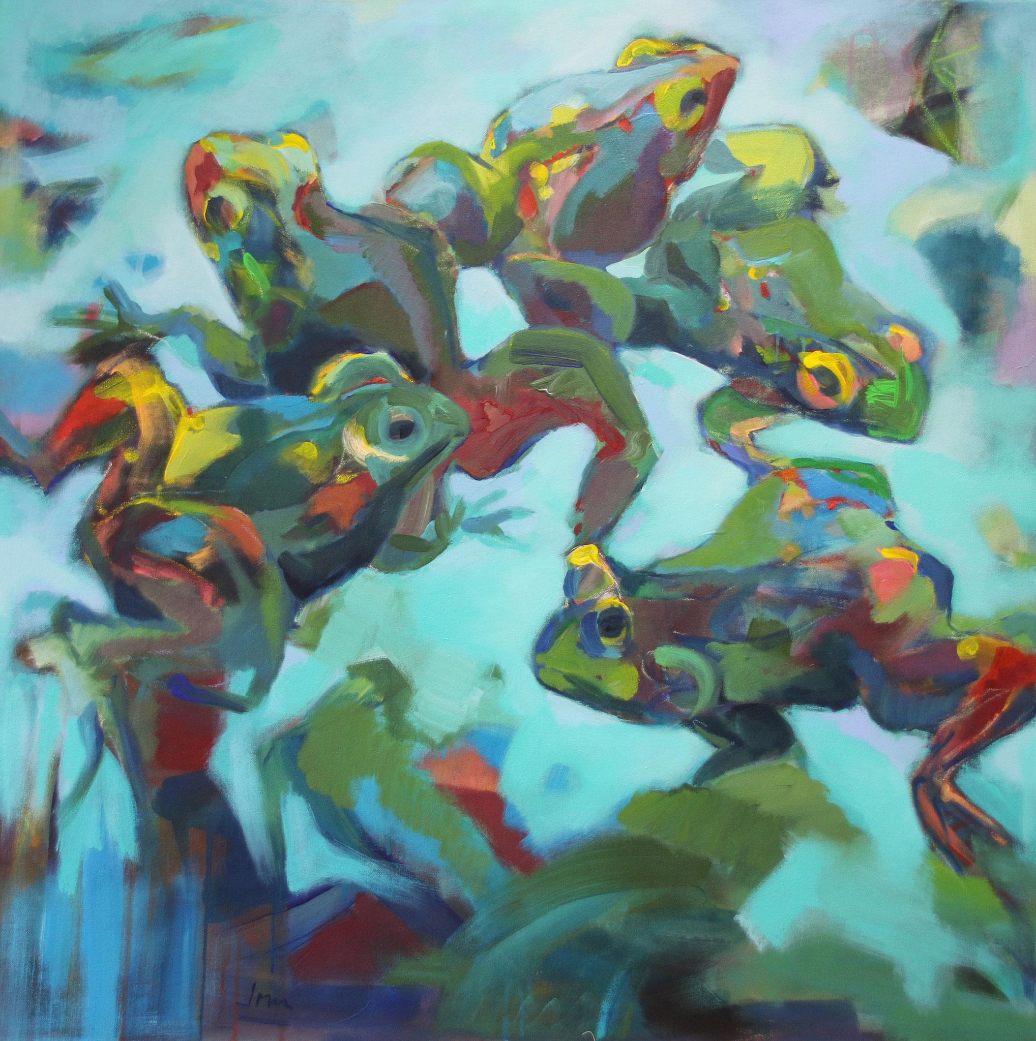 Frösche, 2020, Acryl auf Leinwand, 100 x 100 cm