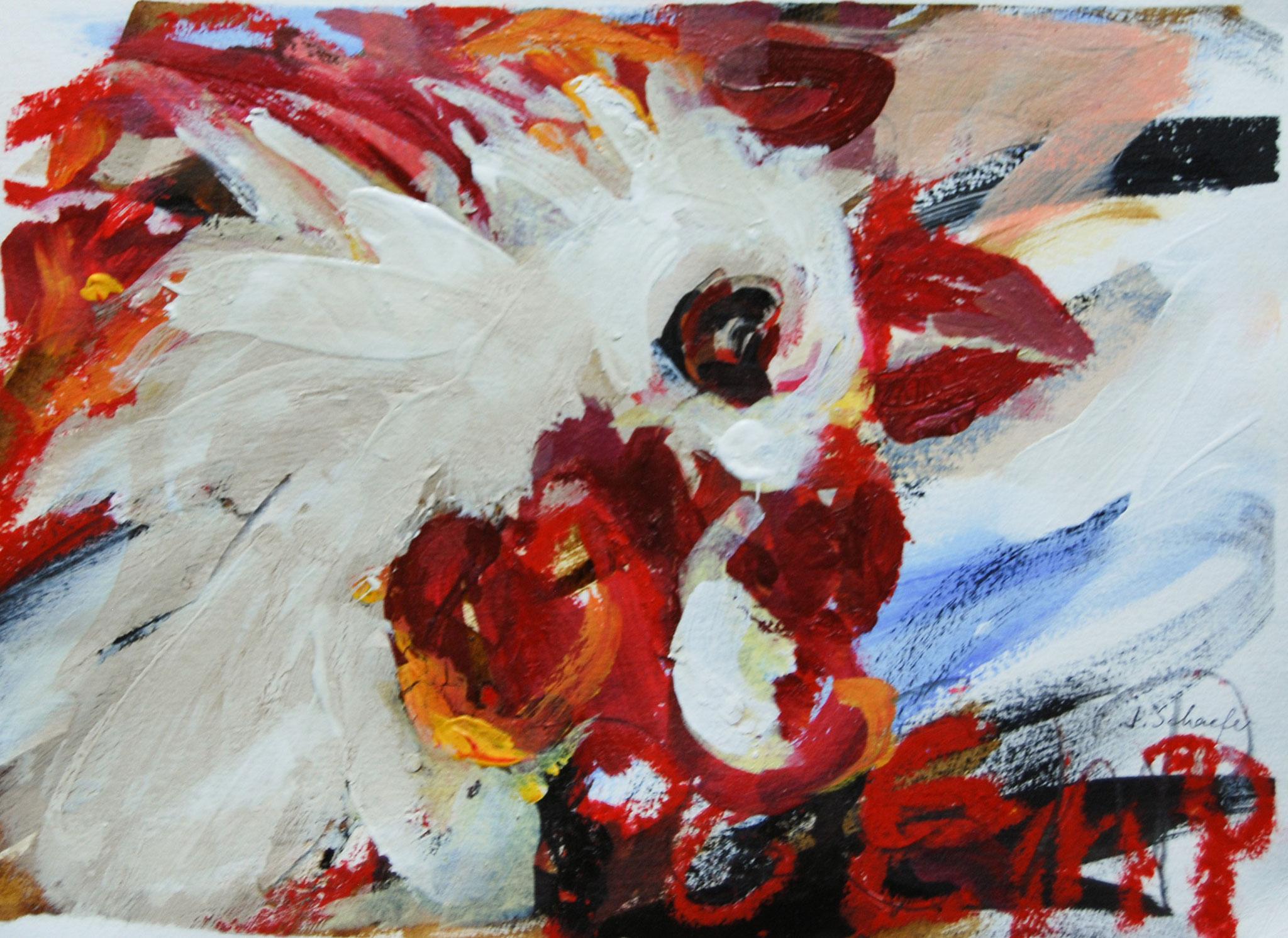 Hahn oder Suppe mag ich nicht,2011, Acryl auf Papier, 28 x 39 cm
