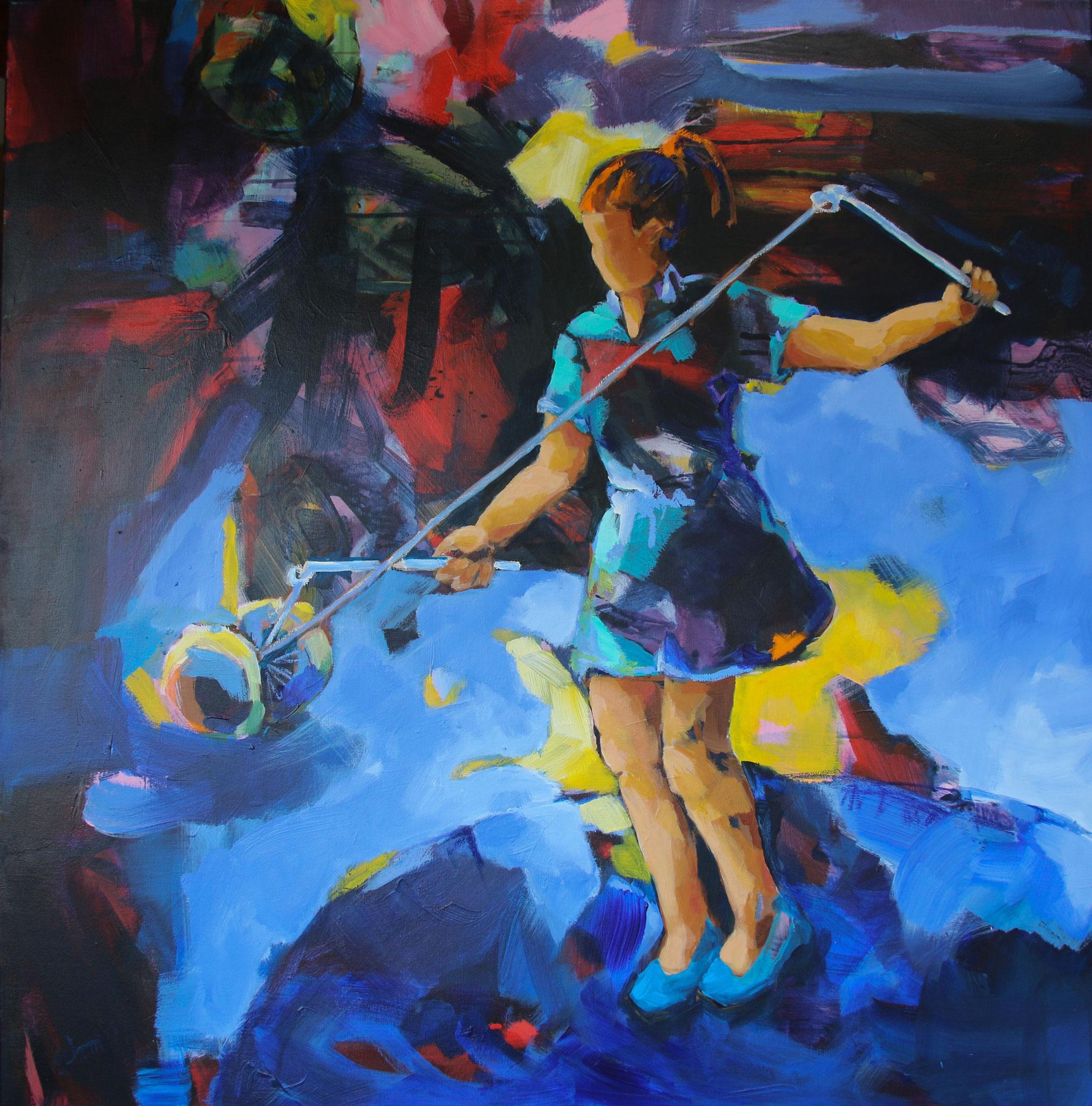 Diabolo 1, 2018, Acryl auf Leinwand, 100 x 100 cm