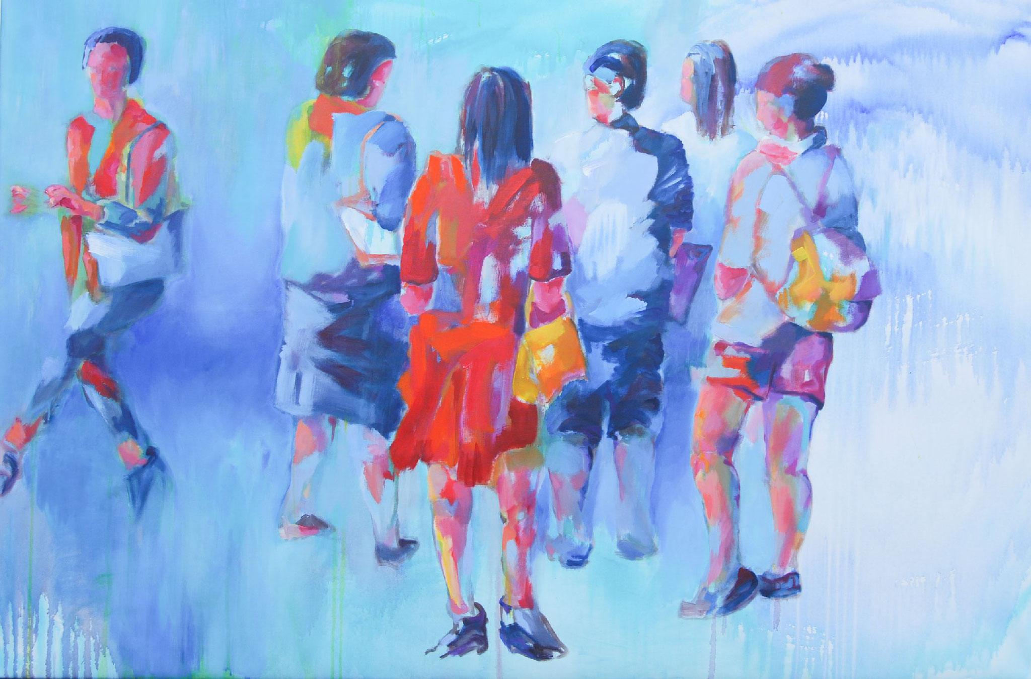 Besucher 14.1, 2014, Acryl auf Leinwand, 119 x 180 cm