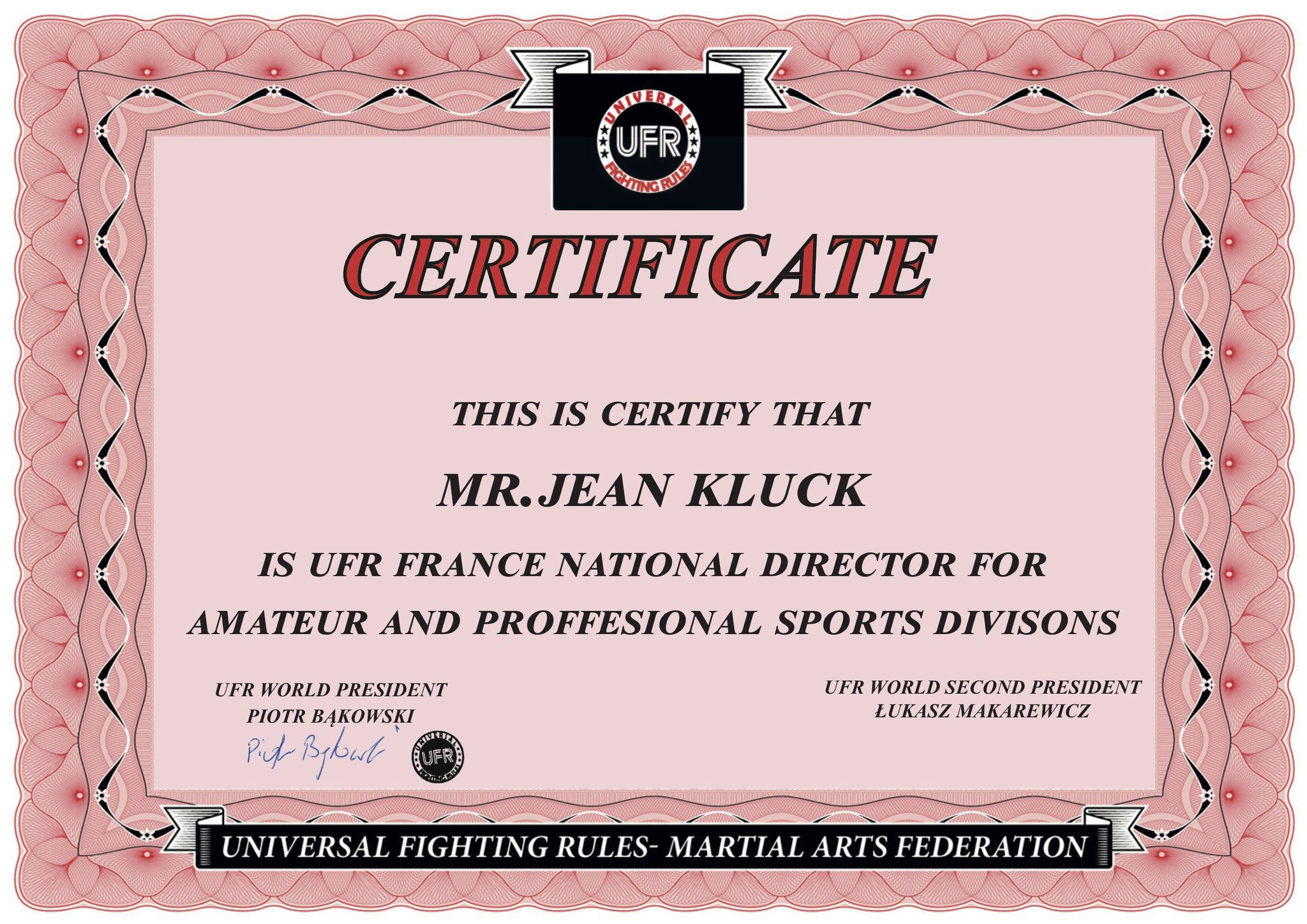 Certification officiel UFR France