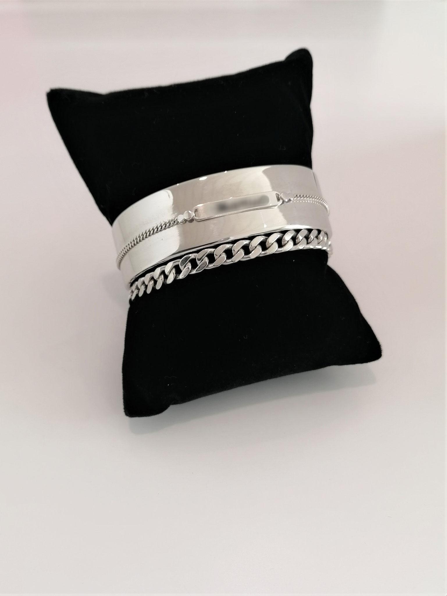 Bracelet rigide avec incorporation identité bébé