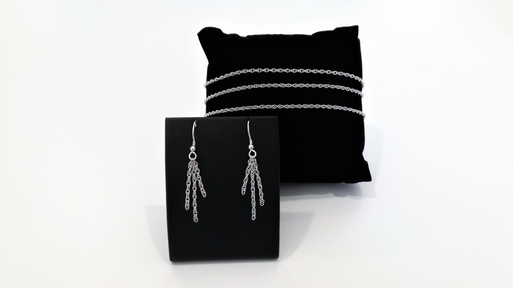 Parure - Bracelet et boucles d'oreilles chaîne corde