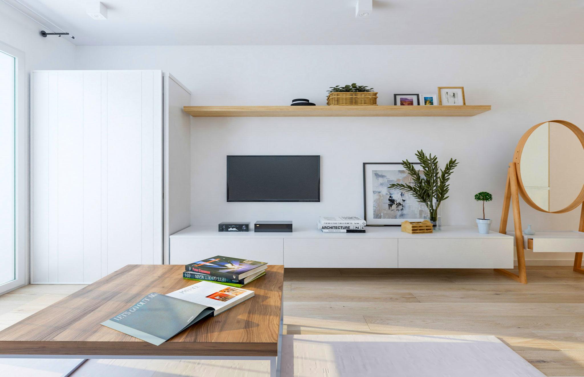 Rendering zona soggiorno