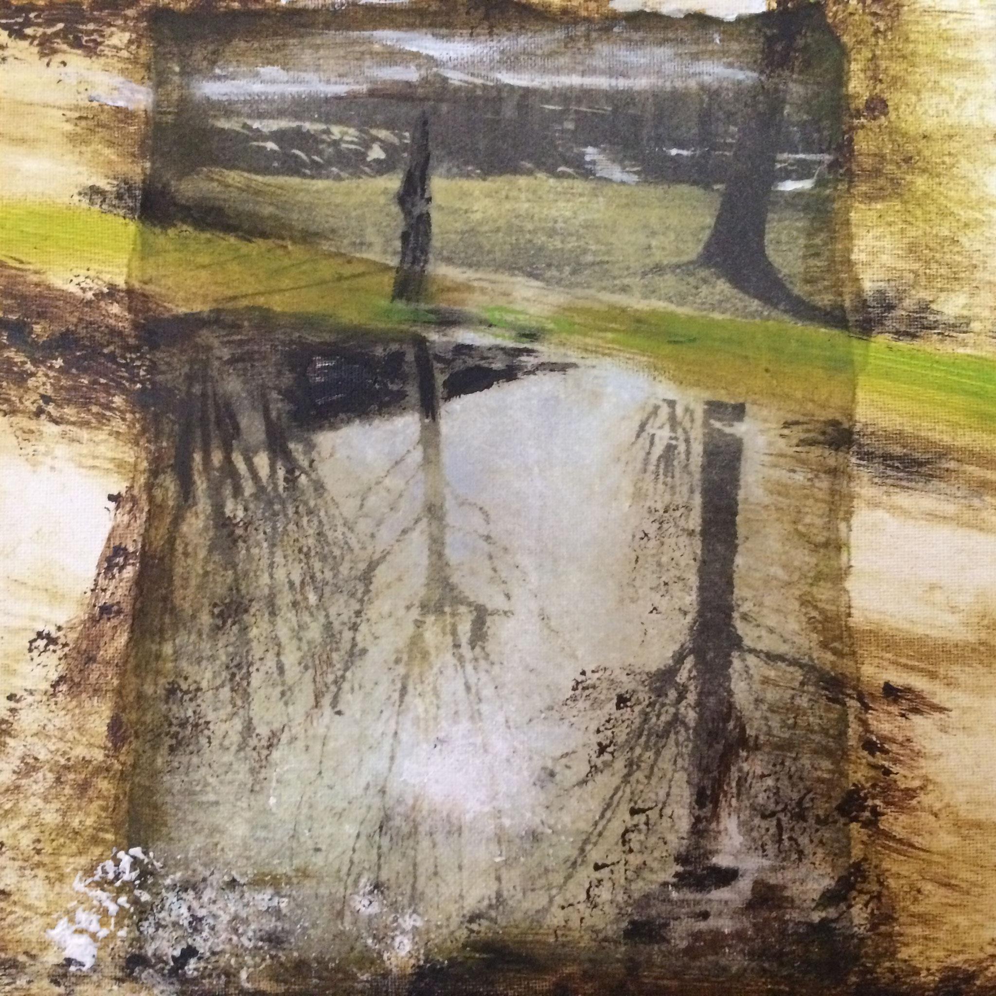 Spiegelung in Cannobio - Fotocollage, Acryl auf Leinwand, 2017, 20 x 20