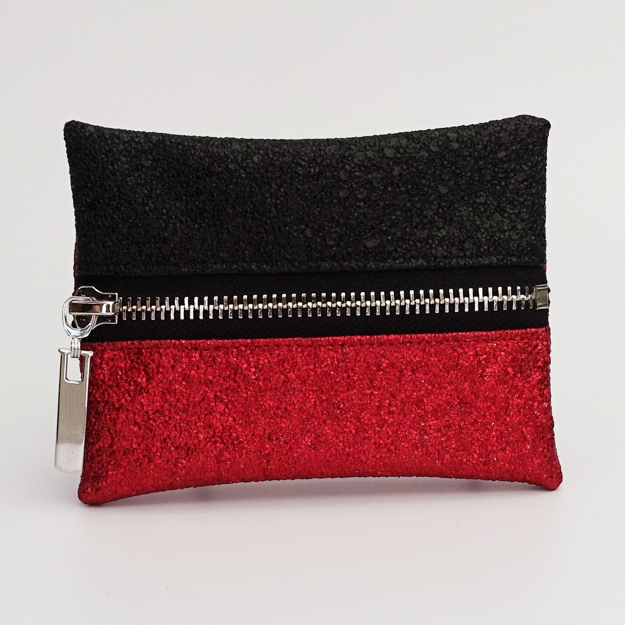 Porte-monnaie végan lurex rouge et noir, zip métal argenté