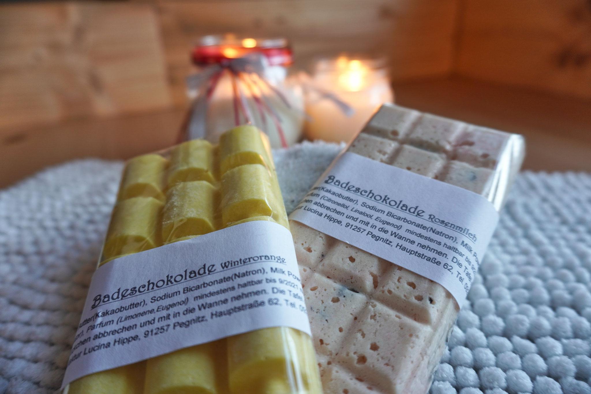 Badeschokolade Winterorange und Rosenmilch