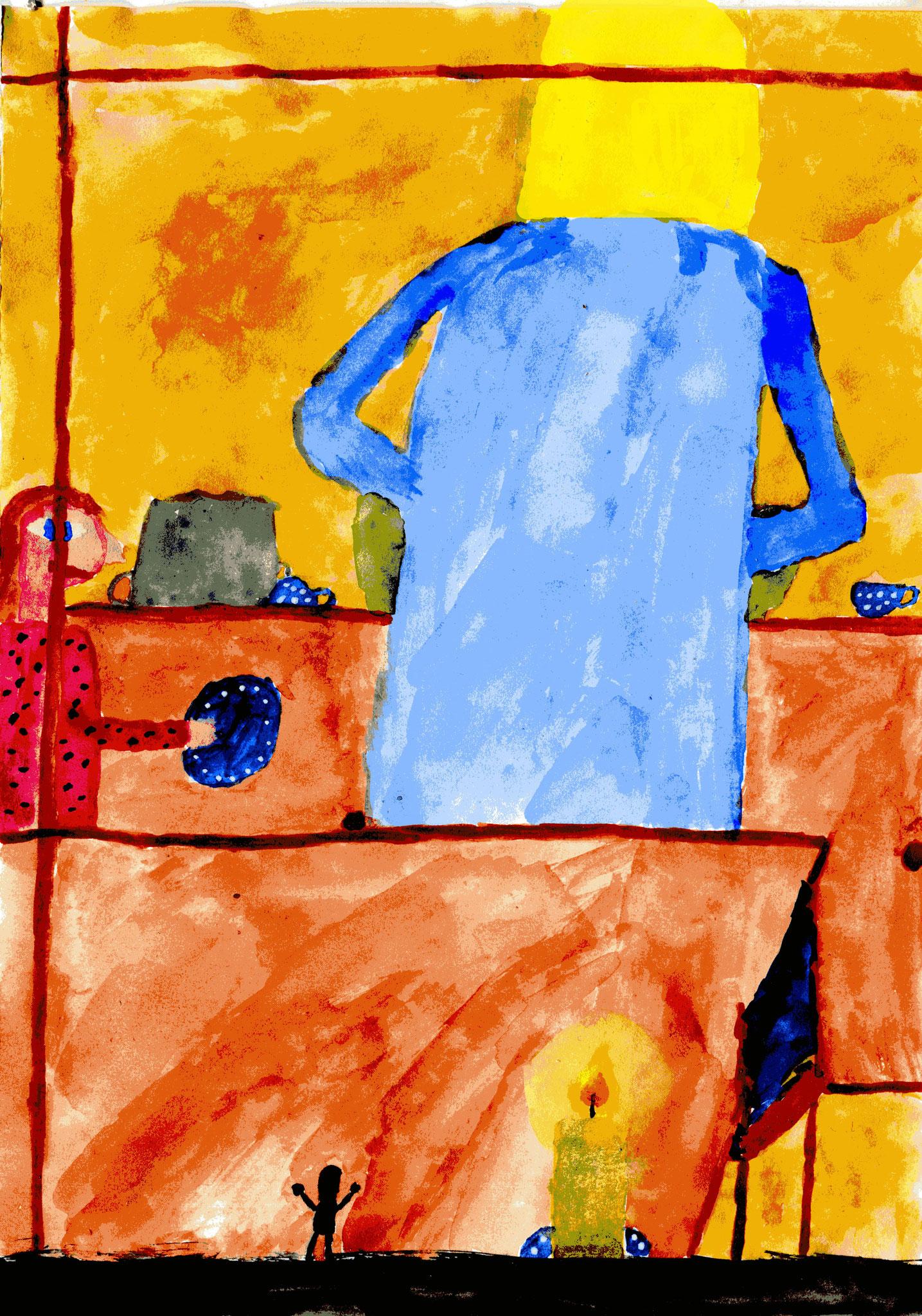 Babu klopft ans Küchenfenster