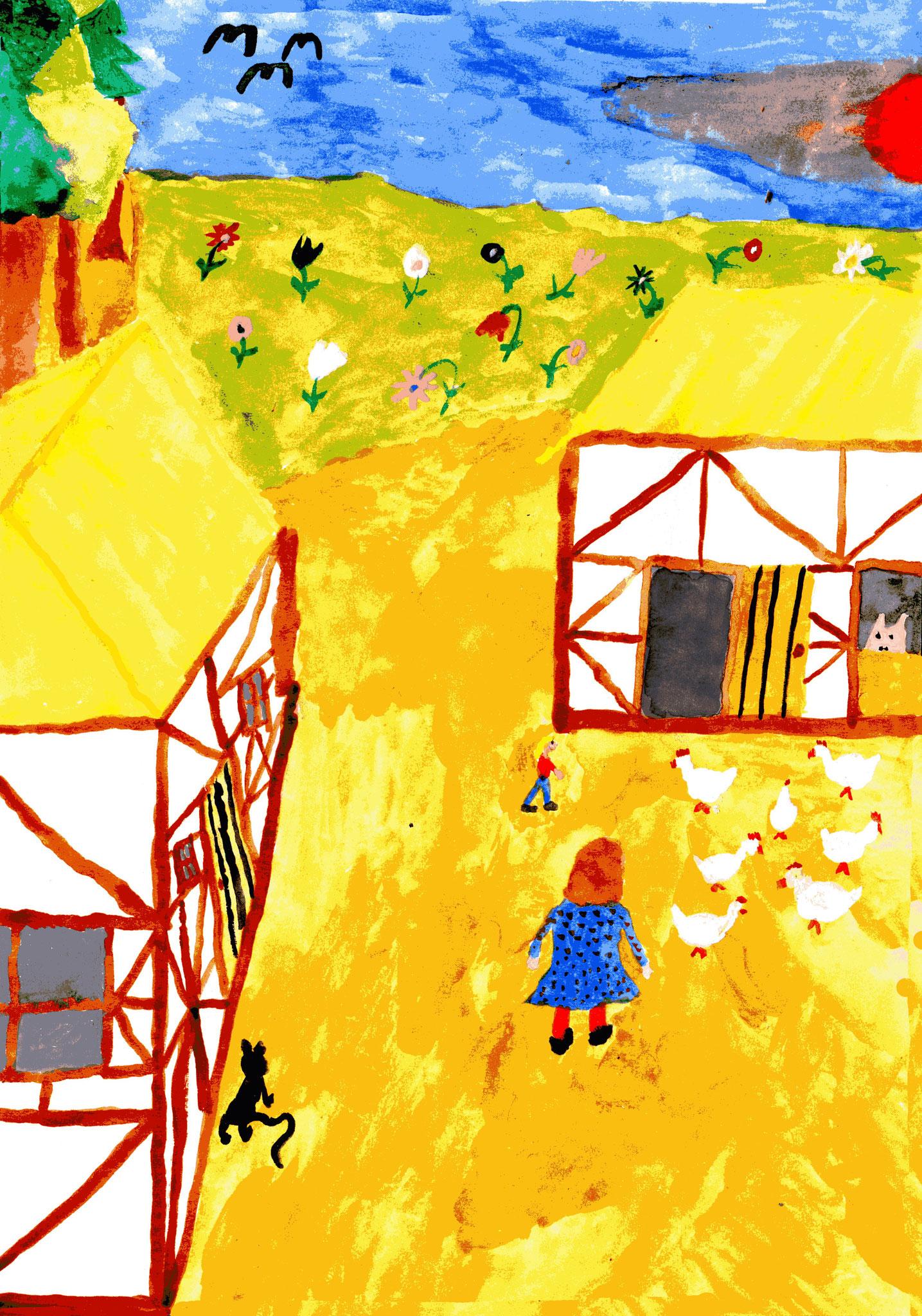 Anna treibt die Hühner in den Stall