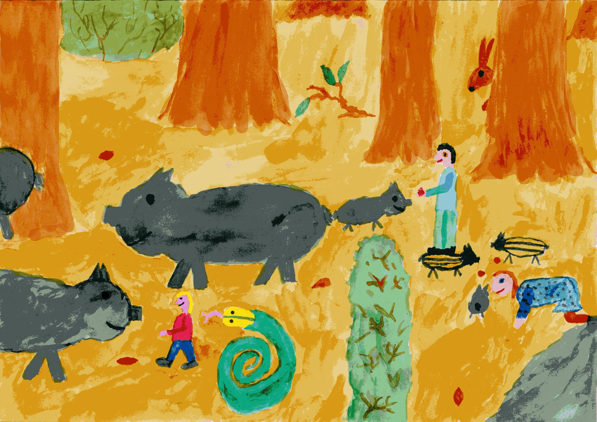 Mit Felix und Elisabeth bei den Wildschweinen