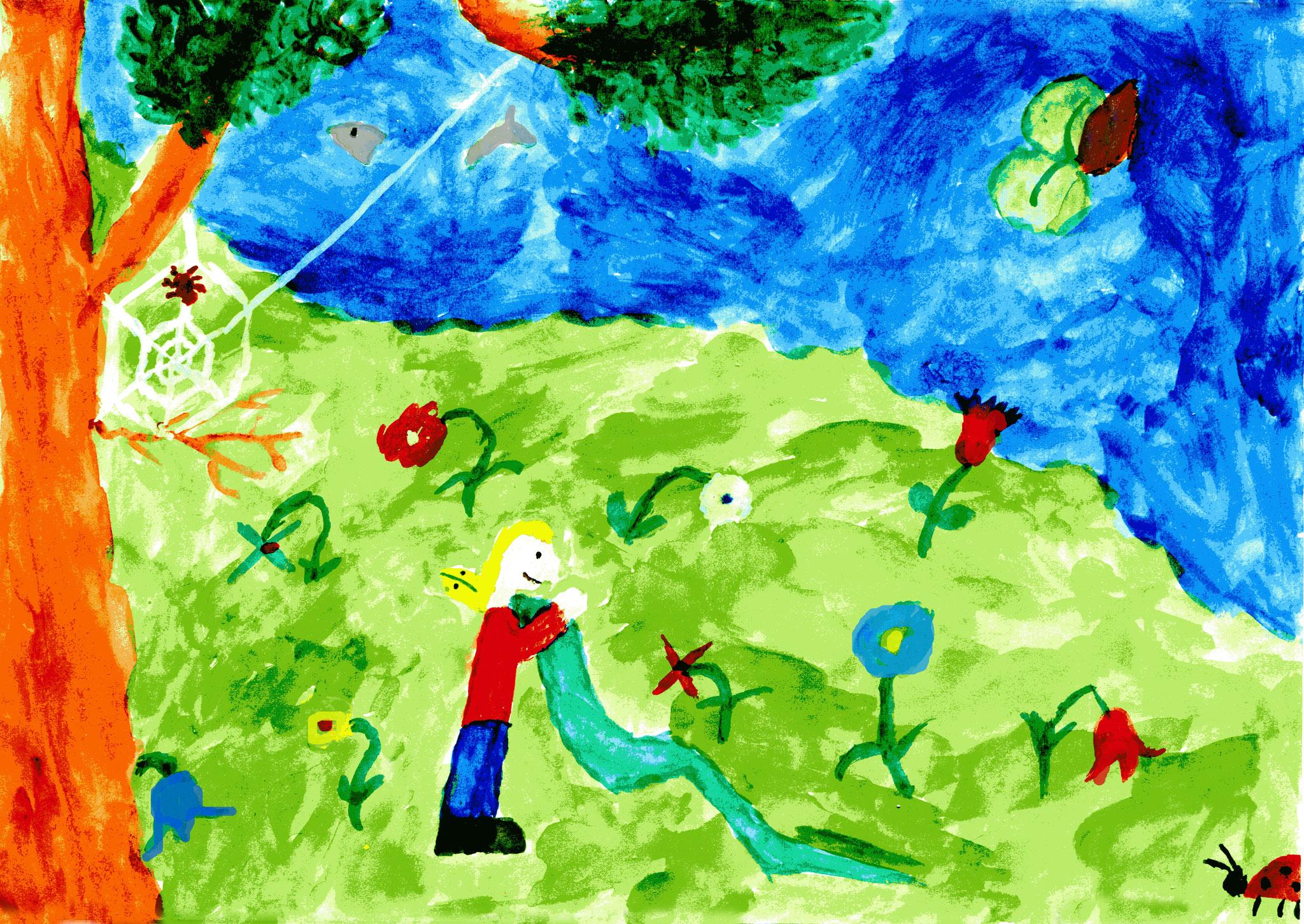 Babu zeigt Nele den Teich