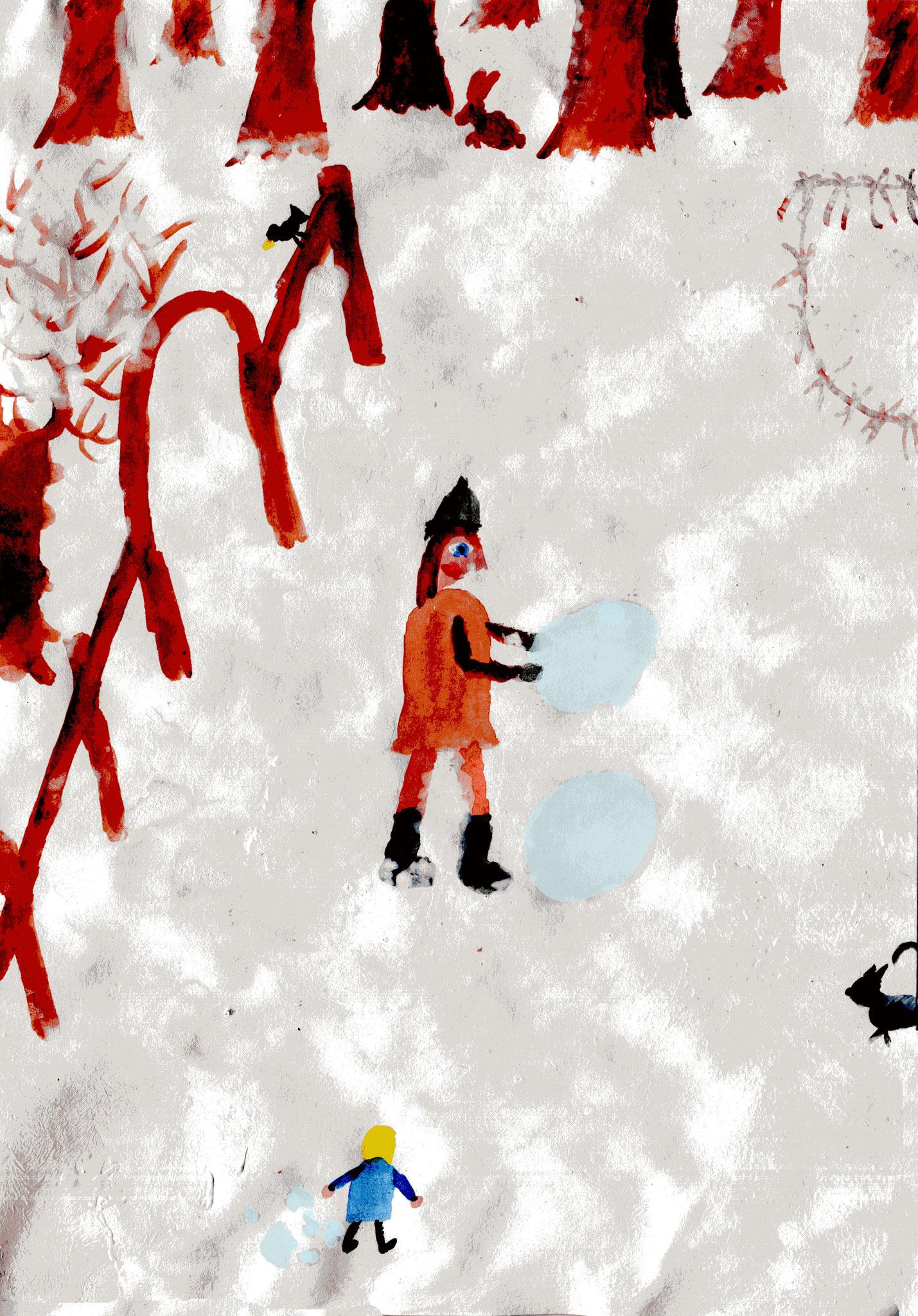 Beim Schneemannbau