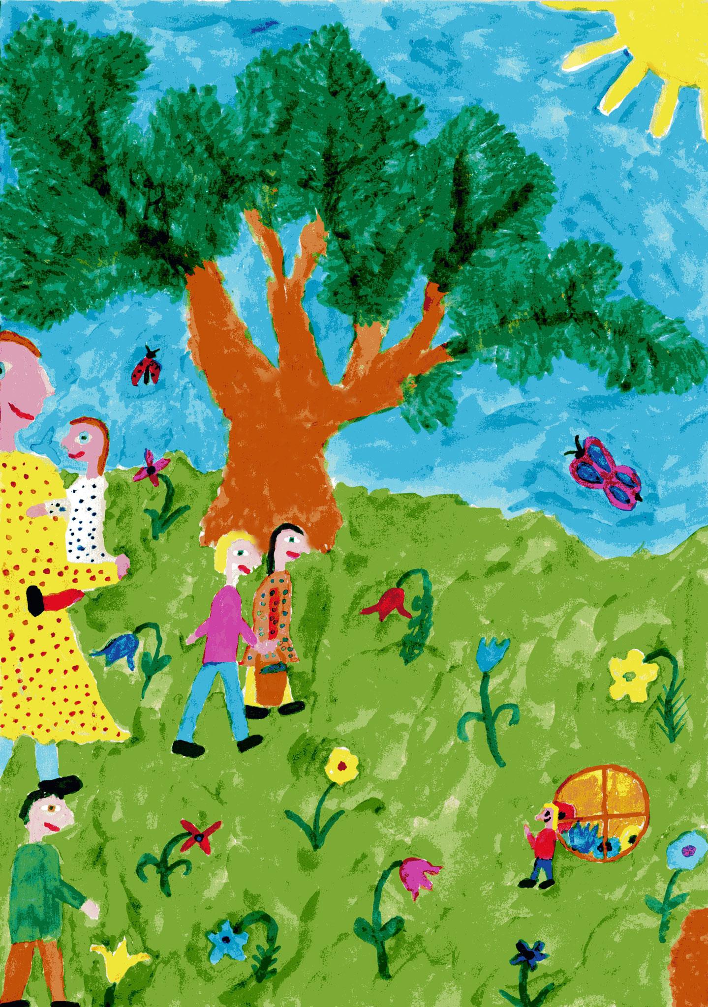 Anna und die Kinder bringen Babu Wasser