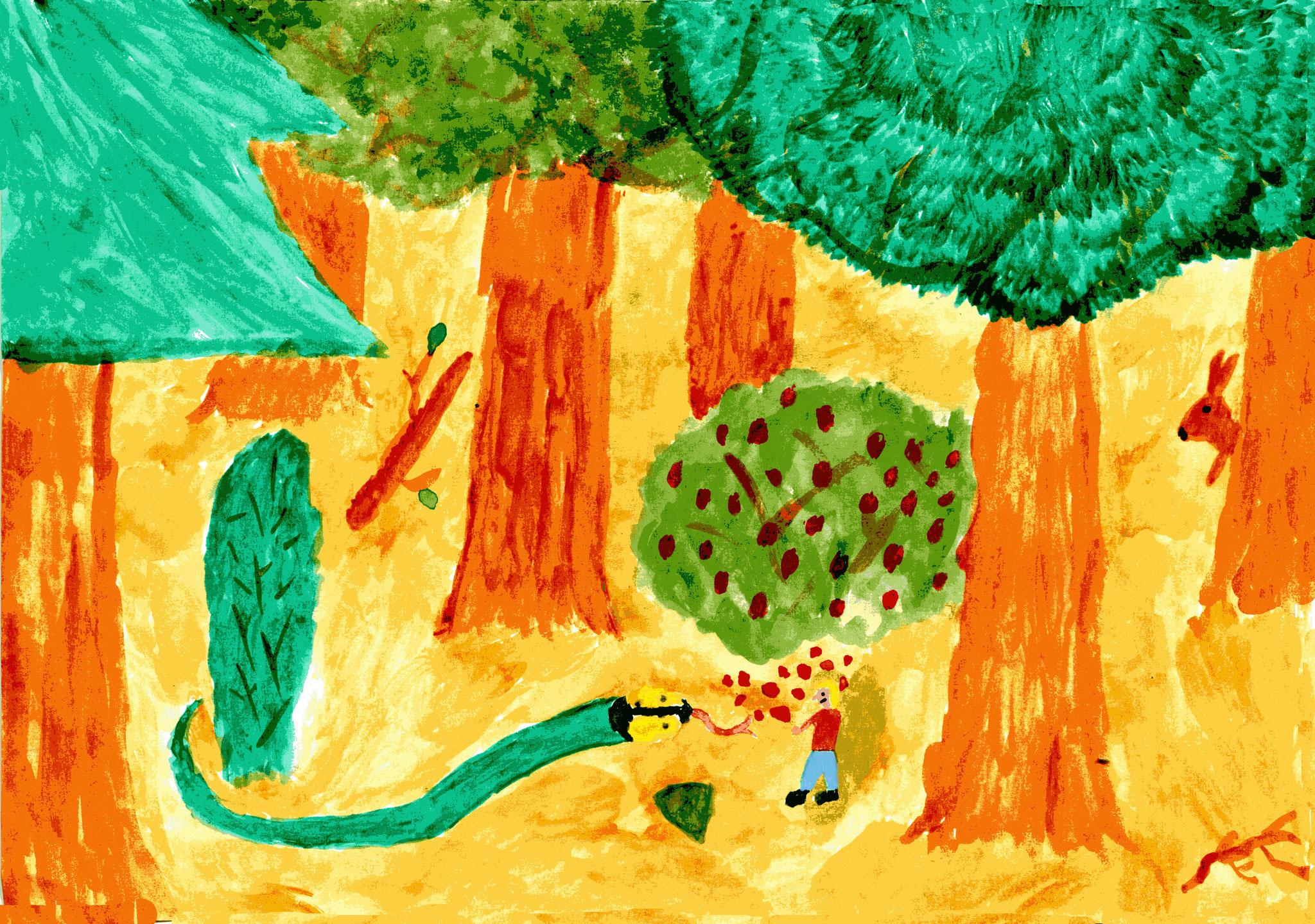 Babu und Nellie sammeln Himbeeren