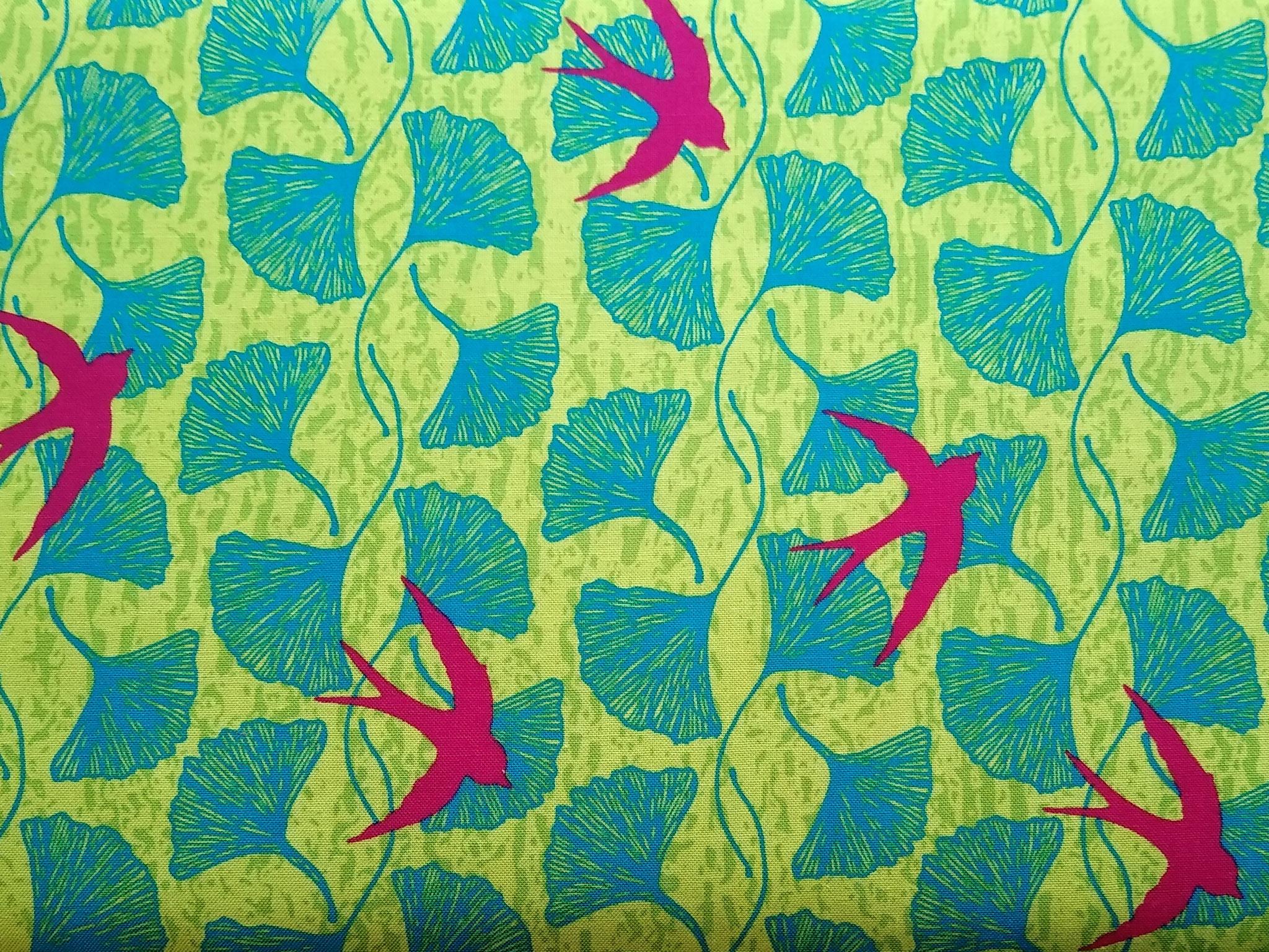 Baumwolle Vögel/ Blätter. 110cm breit, 0.5m 10.50€