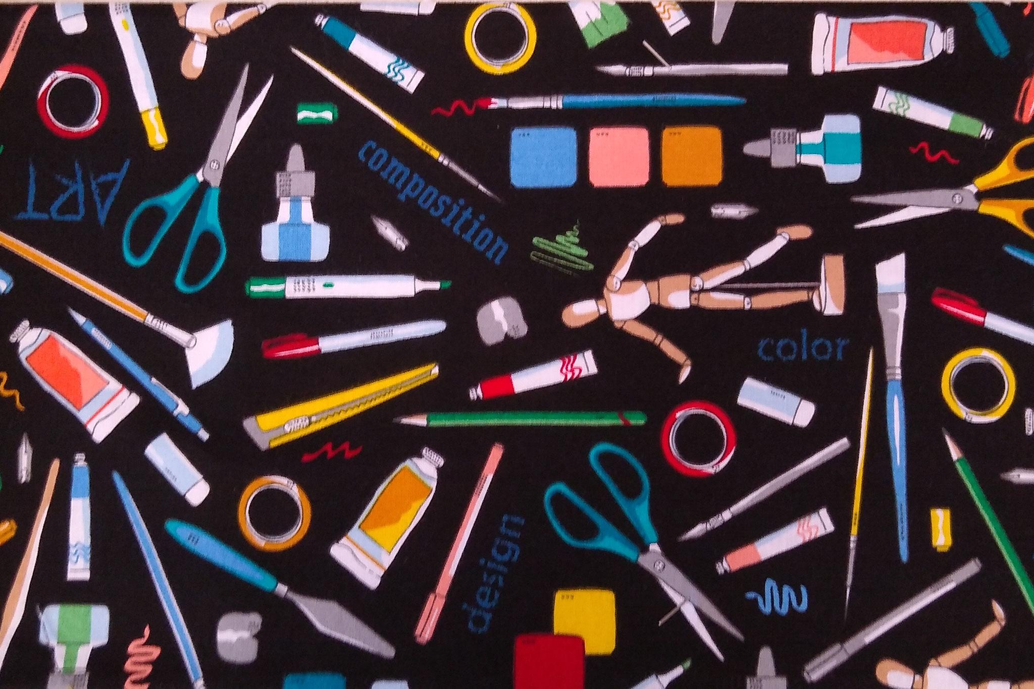 Baumwolle Zeichnen/ Malen/ Kunst/ Schule, 110cm breit, 0.5m 10.00€