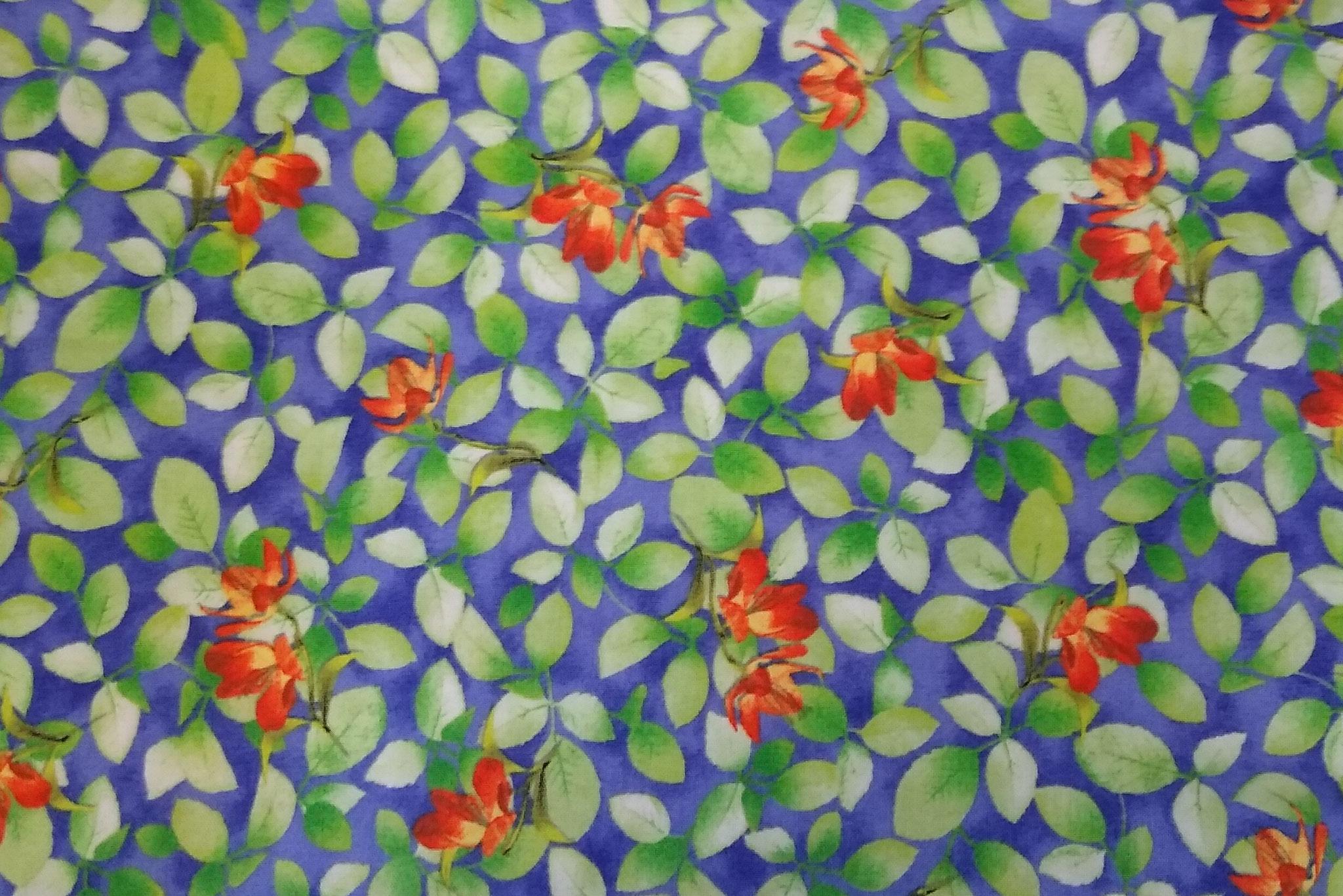 Baumwolle Blüten/ Blätter, 110cm breit, 0.5m 8.50€