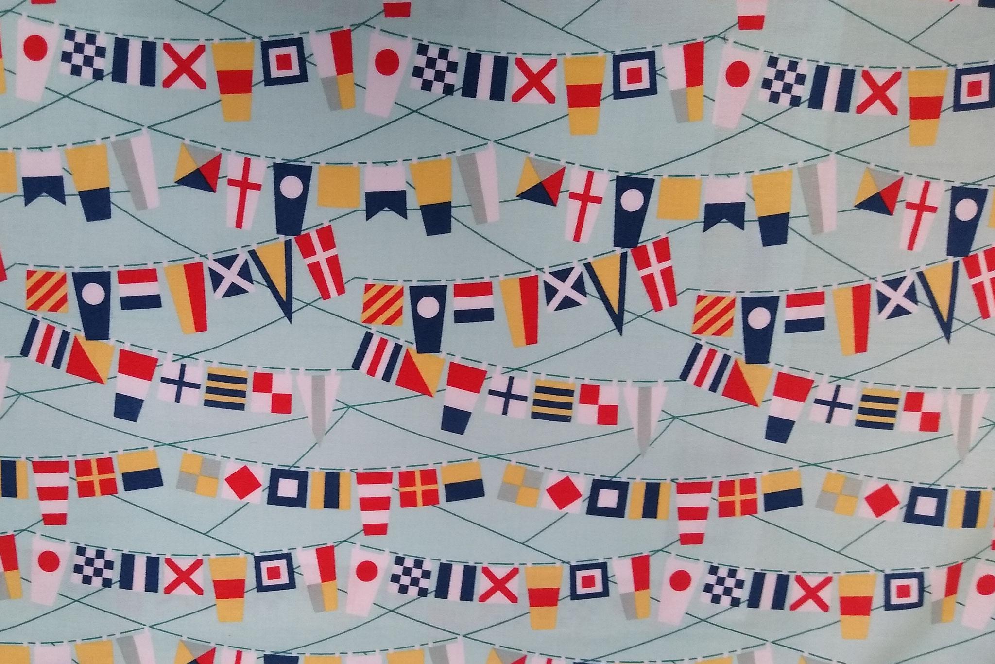 Baumwolle Flaggen/ Schiffe/ nautisch, 110cm breit, 0.5m 7.50€