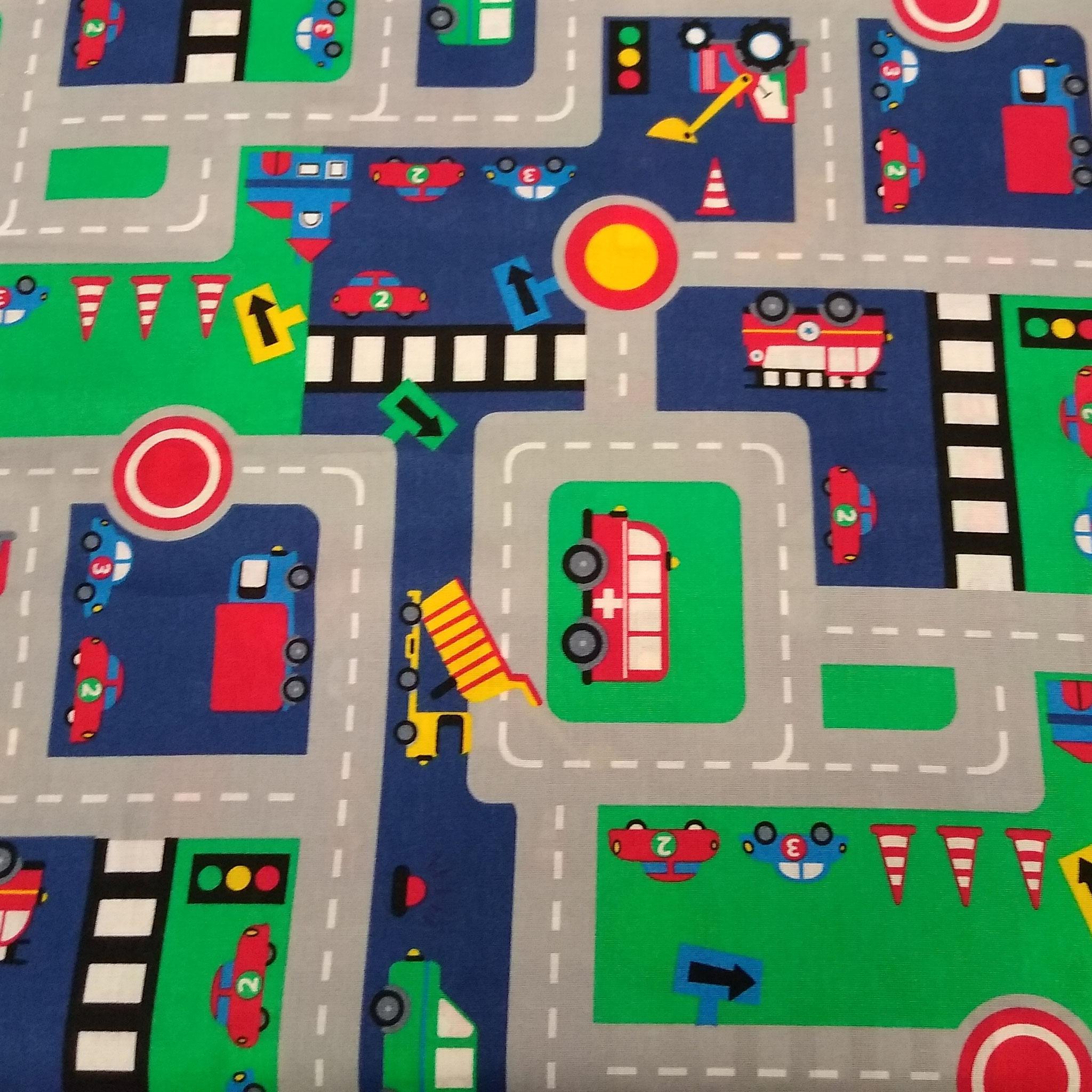 Baumwolle Autoteppich/ Straße/ Stadt/ Autos, 140cm breit, 0.5m 6.50€