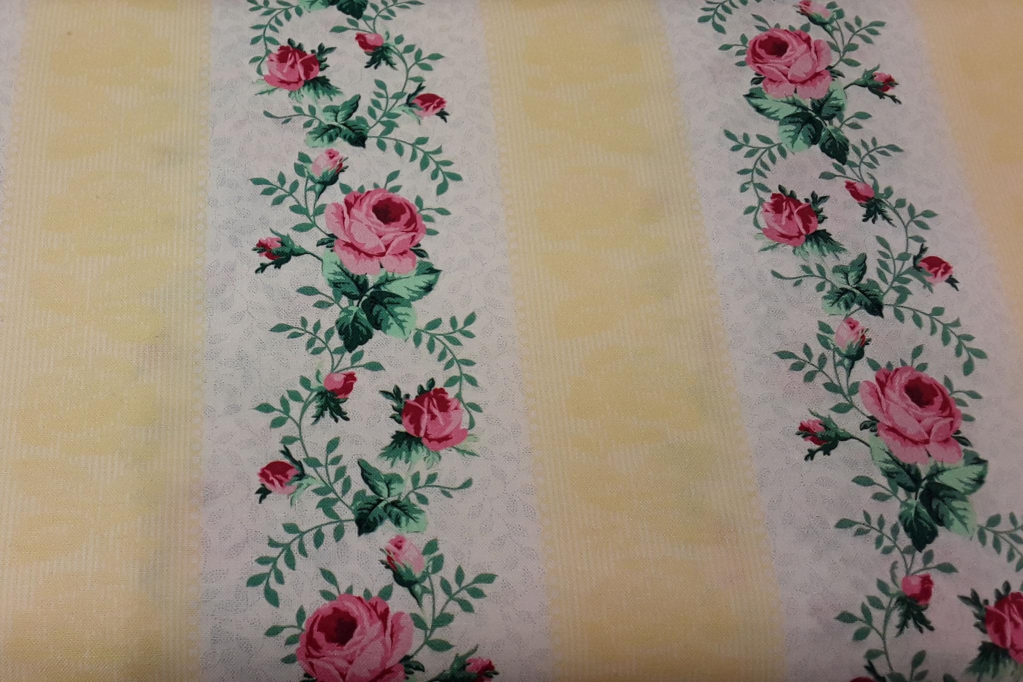Baumwolle Rosen, senkrechte Streifen, 110cm breit, 8.50€