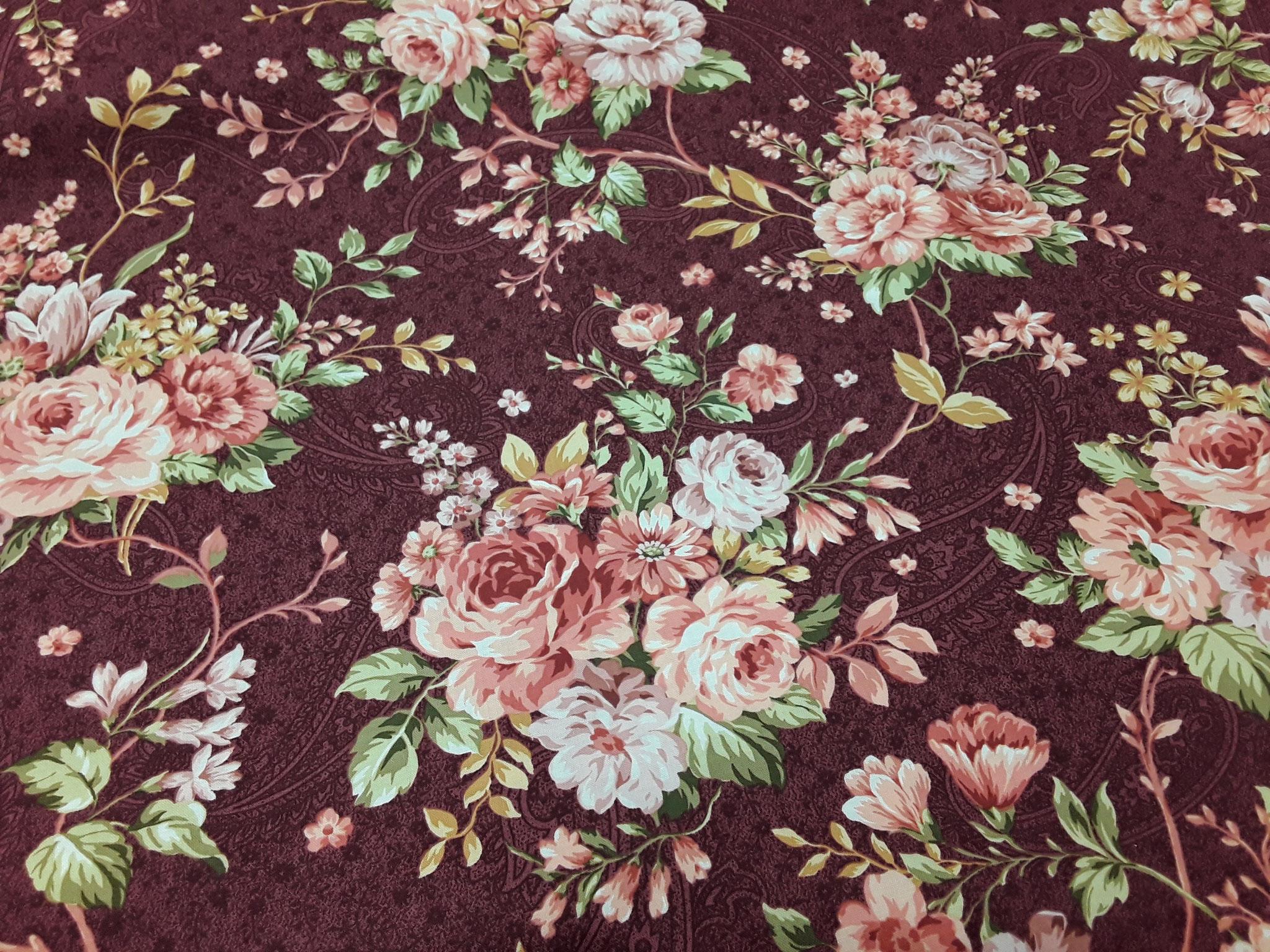 Baumwolle Blume/ Blüten/ bordeaux, 110cm breit, 9.50€