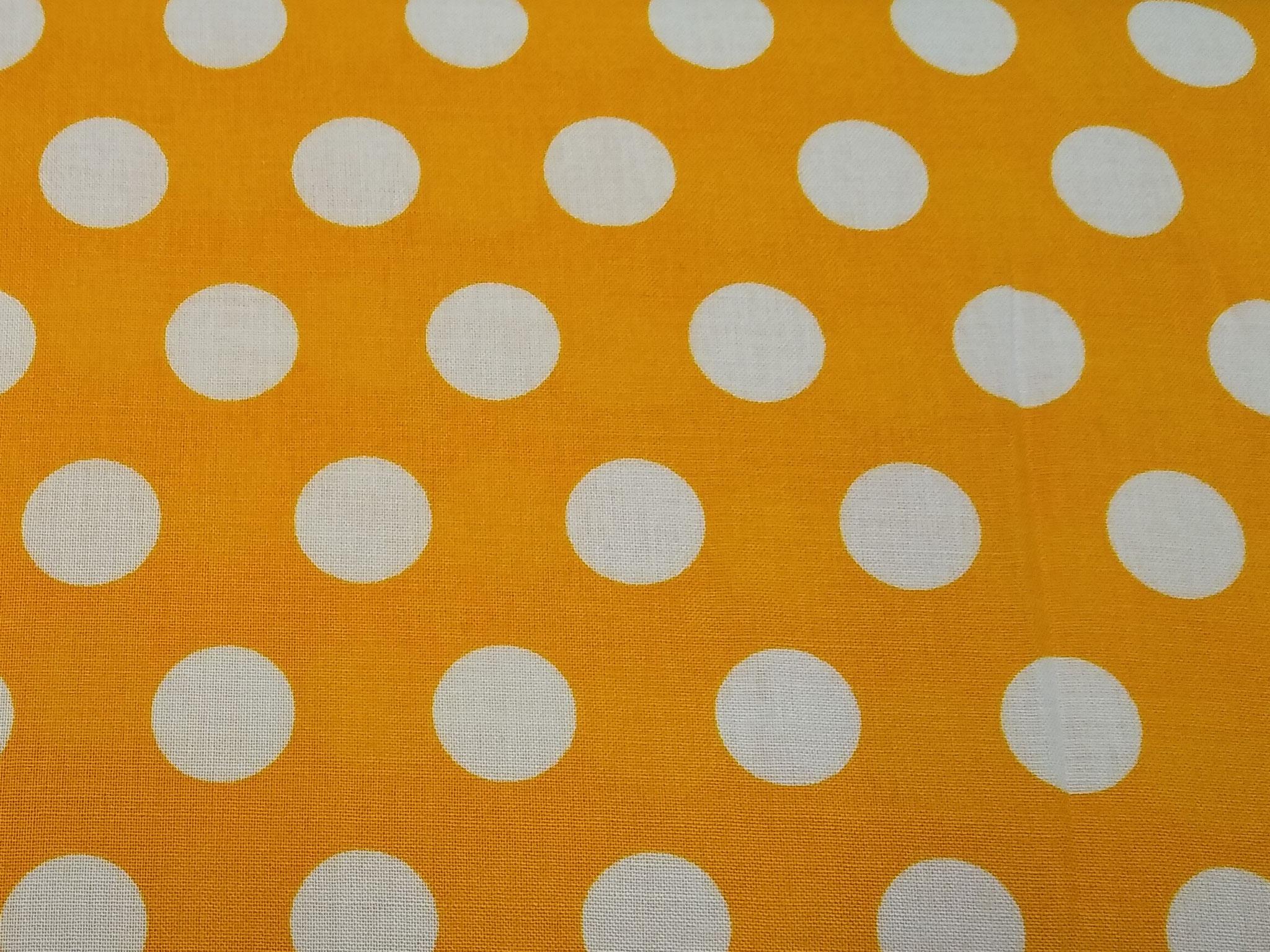 Viskose Webware weiße Tupfen auf gelb, 140cm breit, 0.5m 6.50€