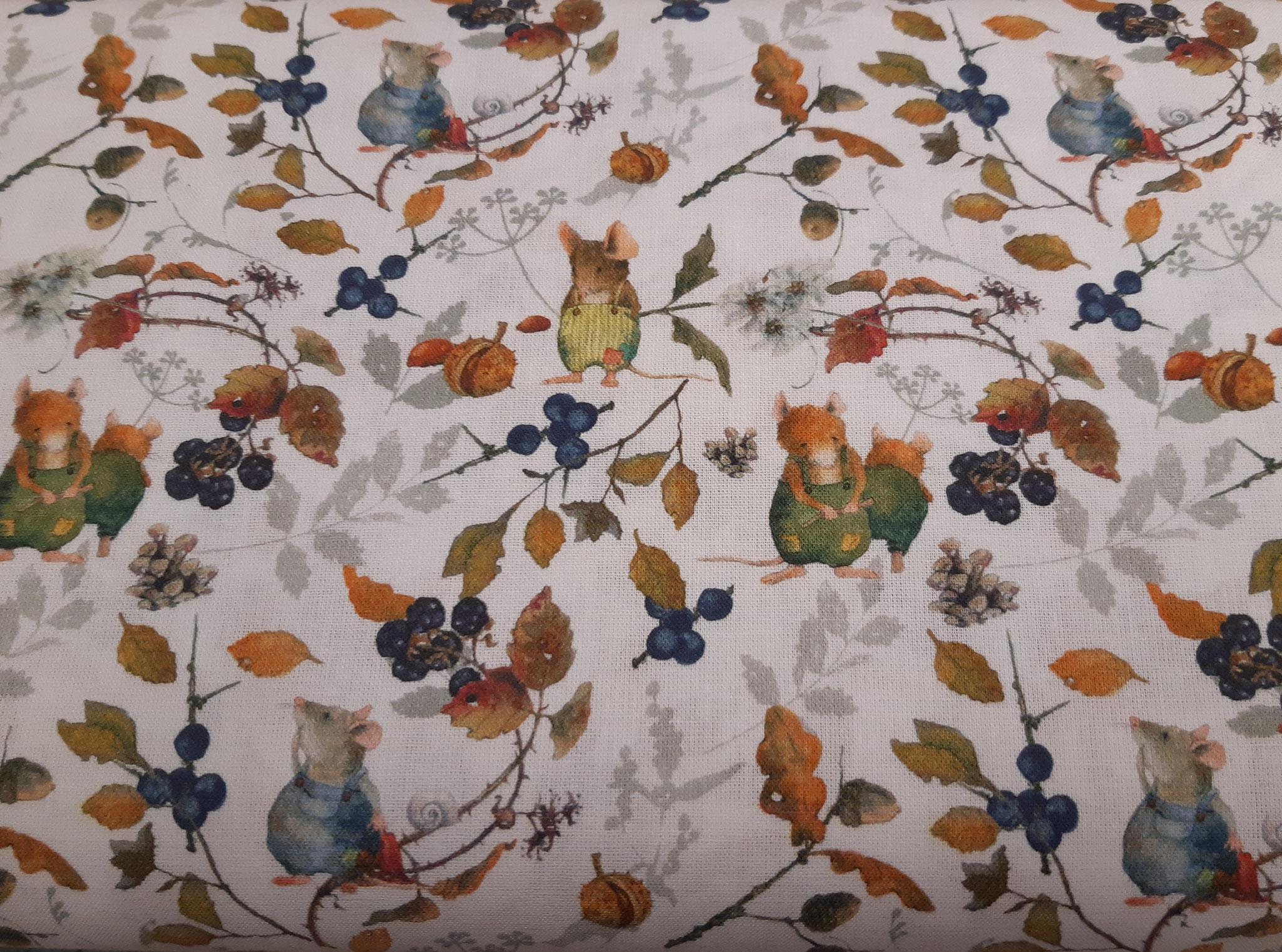 Baumwolle Herbst/ Mäuse/ Laub/ Früchte, 140cm breit, 0.5m 11.50€