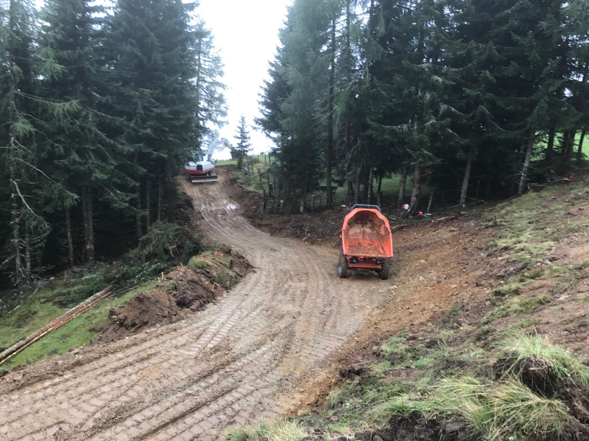 Forstwegebau 10% Steigung 4 Meter Wegbreite mit 15to Bagger im Mölltal