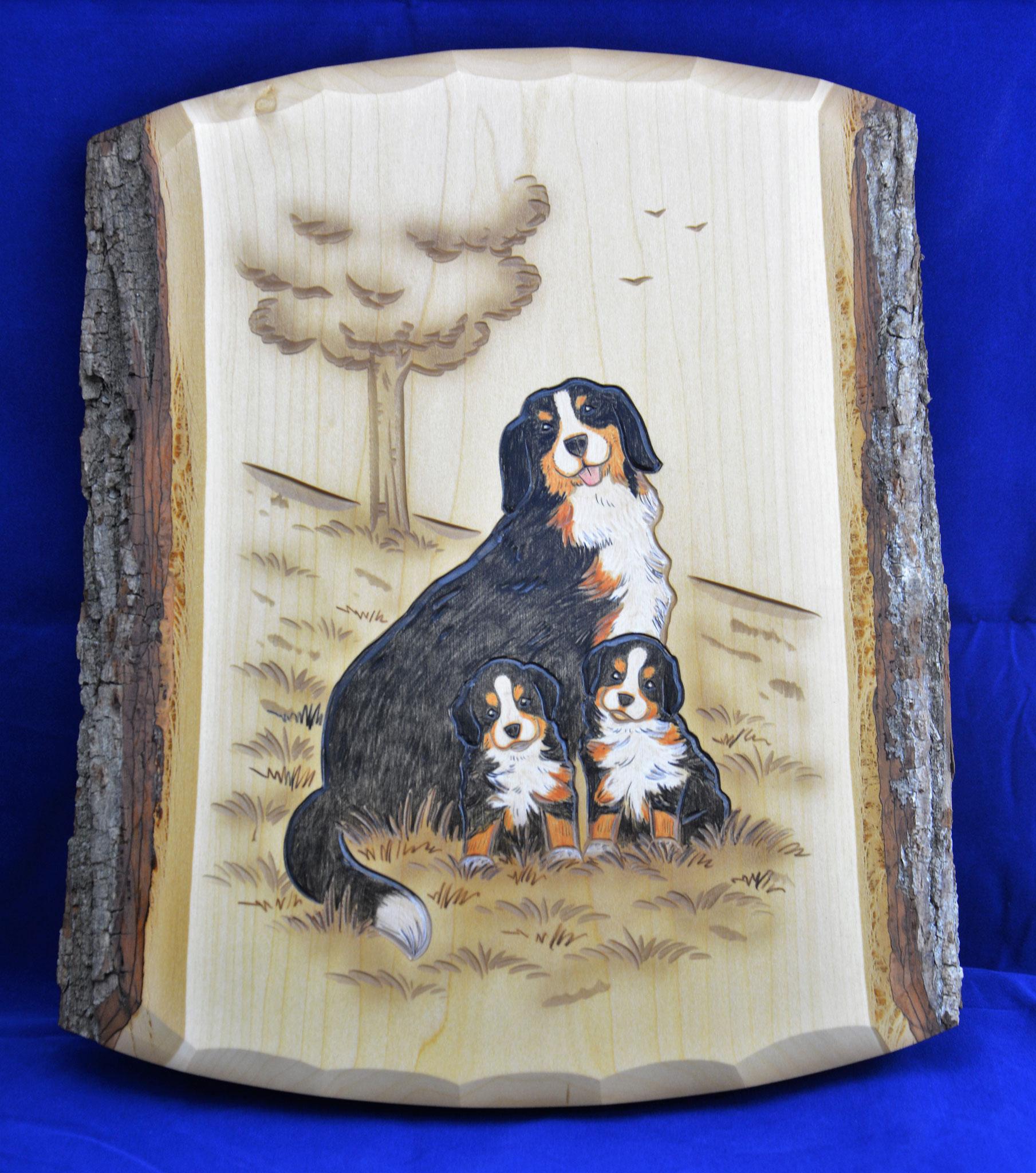 07.074.0F Berner Sennenhund mit zwei Jungen
