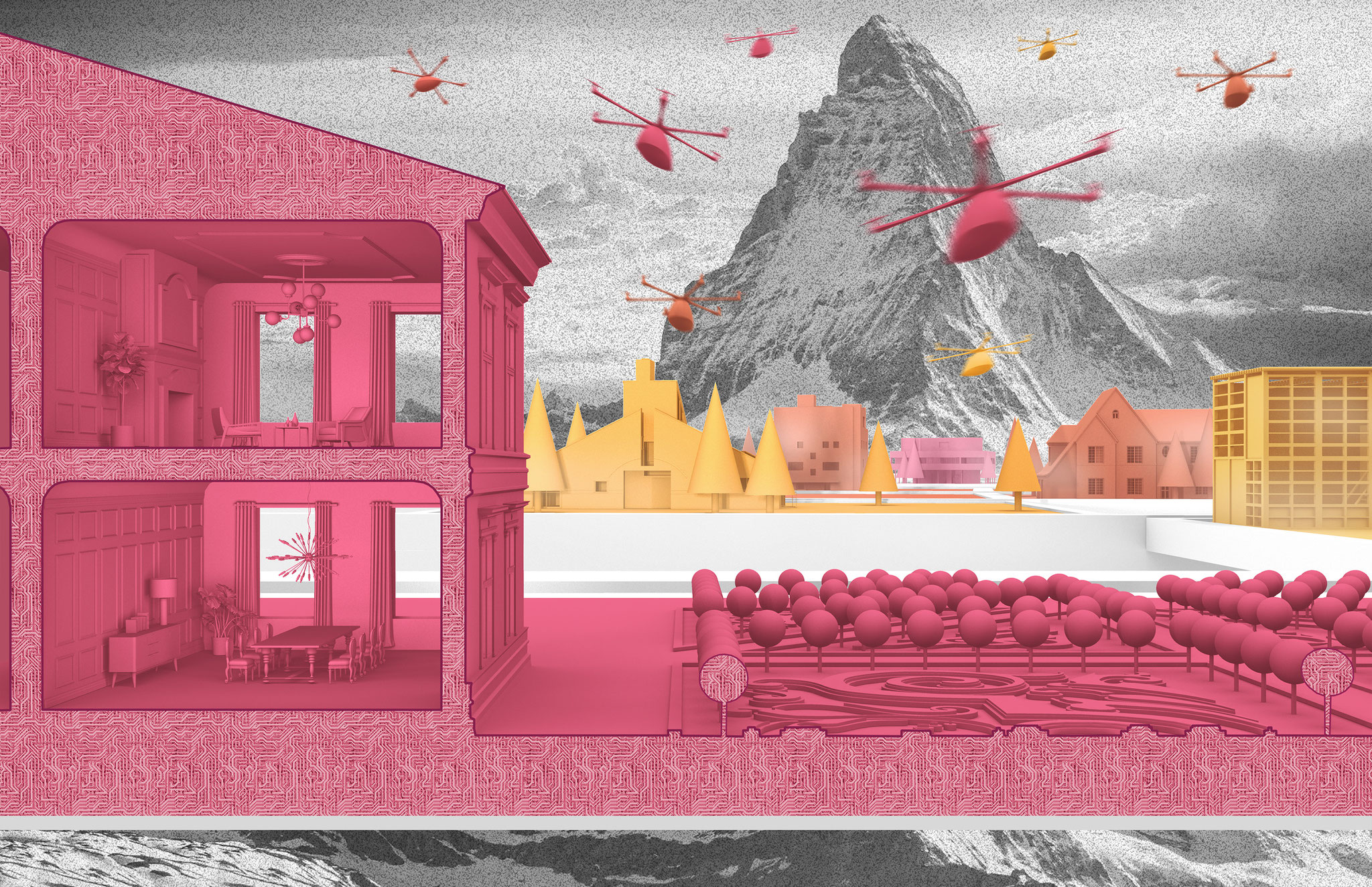 Future architecture and urbanism concept by Paul Eis. Part of the Fairy Tale Competiton. Utopian or dystopian scenario. Colorful renderings and collages.
