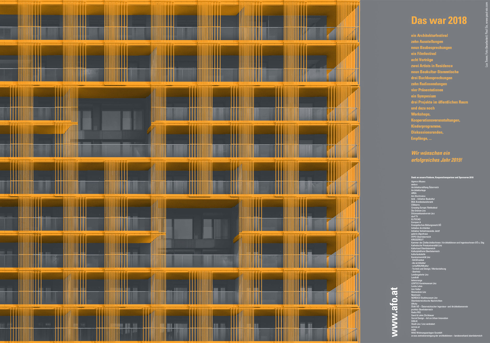 Poster design commissioned by the AFO (Architekturforum Oberösterreich). Architecture photography of the Lux Tower, Linz by Riepl Riepl Architekten.