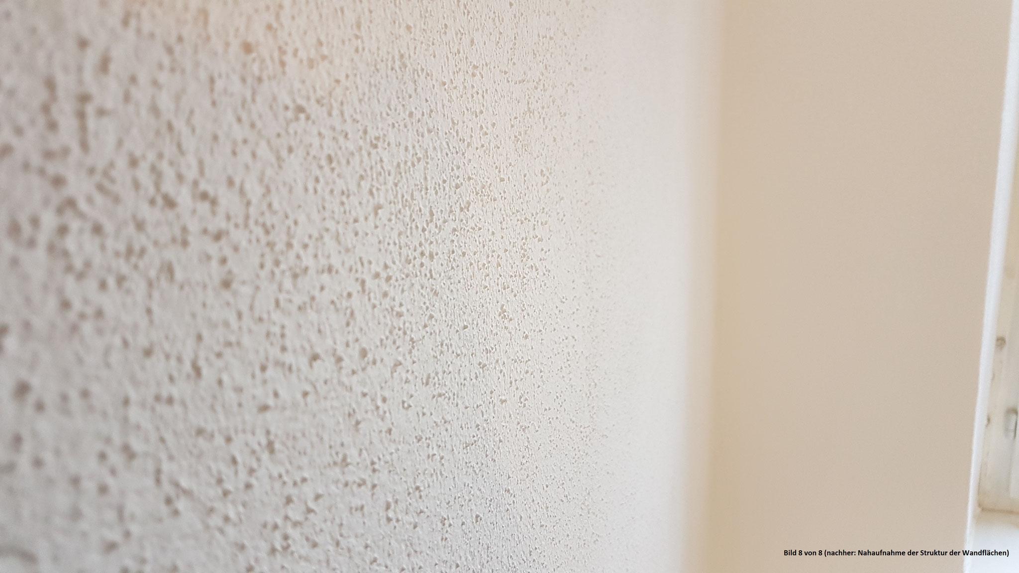 Bild 8 - nachher: Nahaufnahme der Struktur der Wandfläche