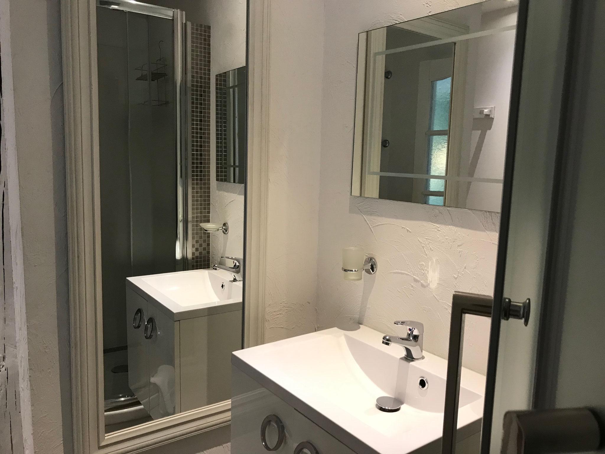 douche, lavabo, wc, sèche-cheveux