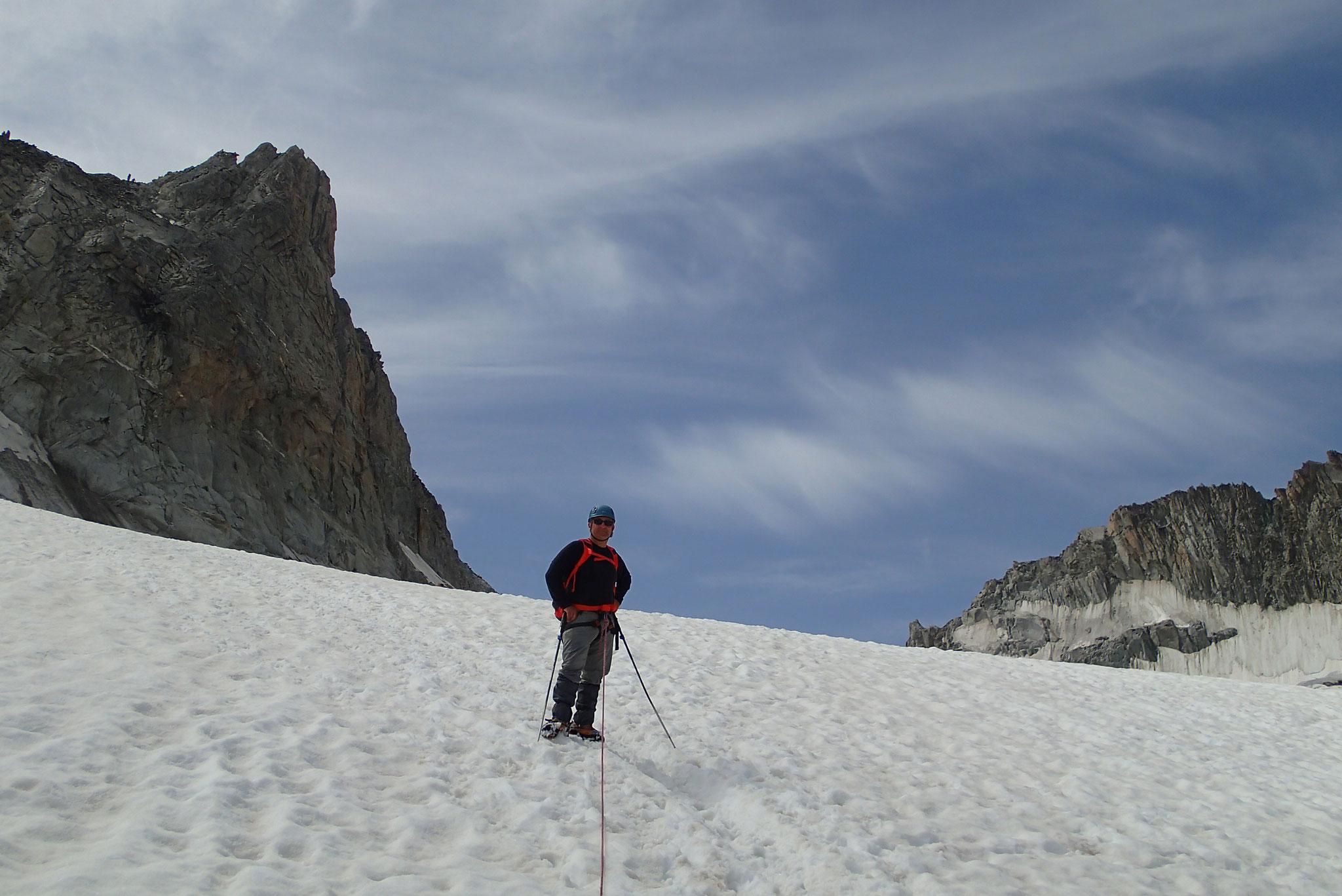 Retour sur le glacier sous l'Aiguille