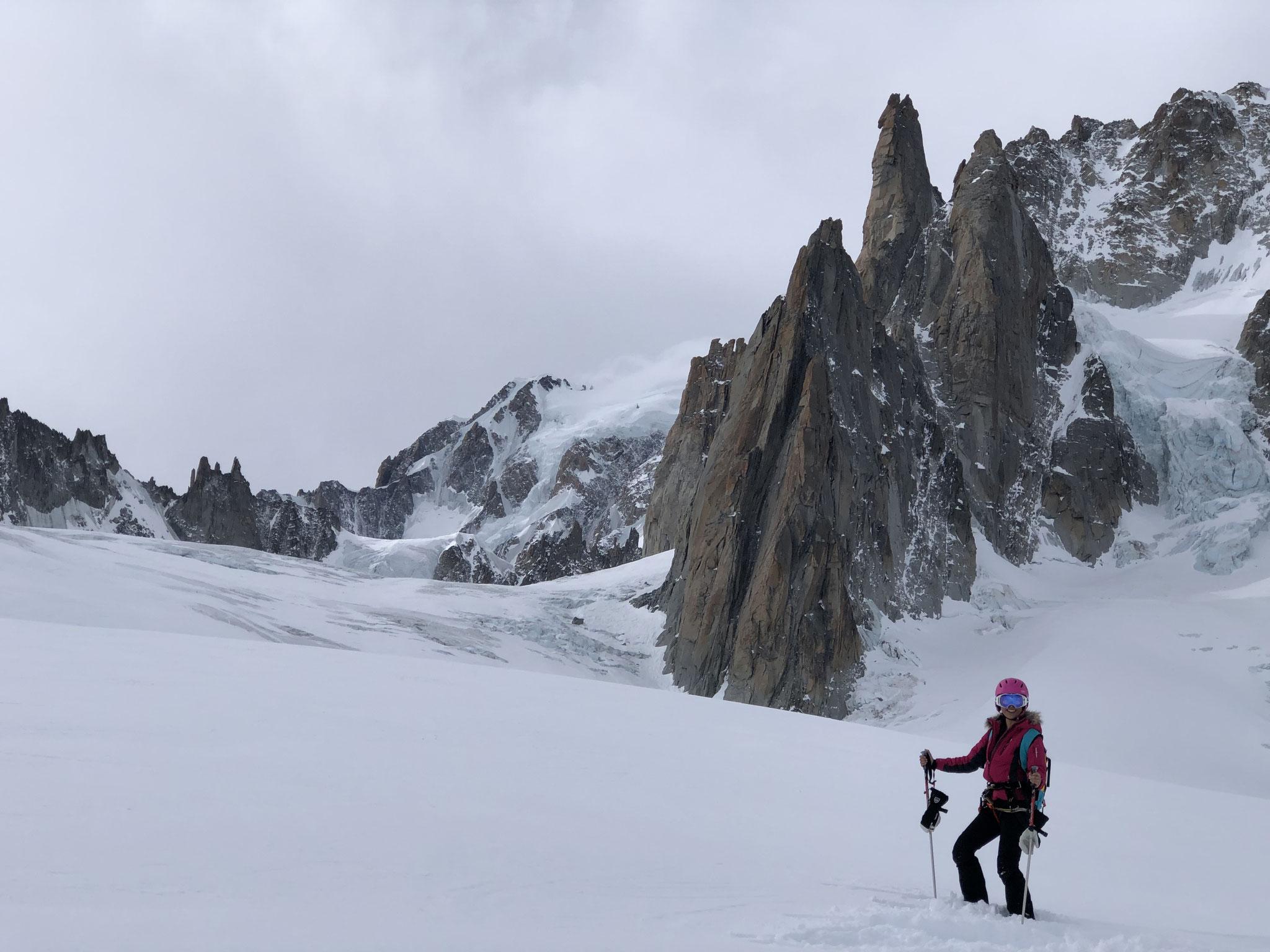 Sur le Glacier du Géant, sous le Grand Capucin