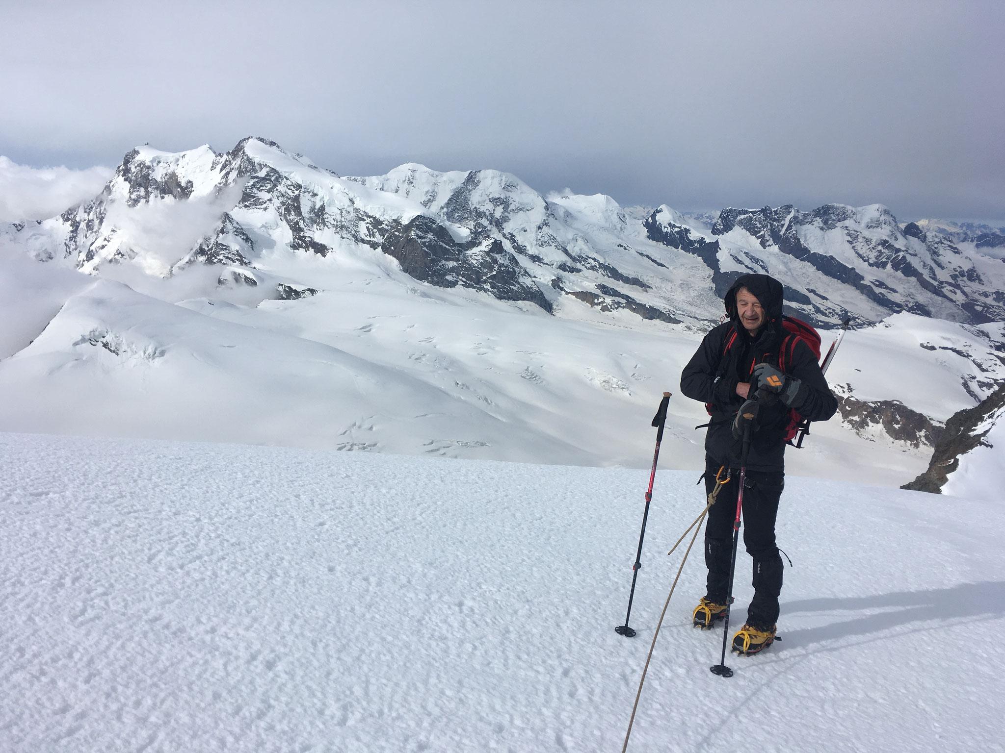 Avant le long retour, regard coté Monte Rosa