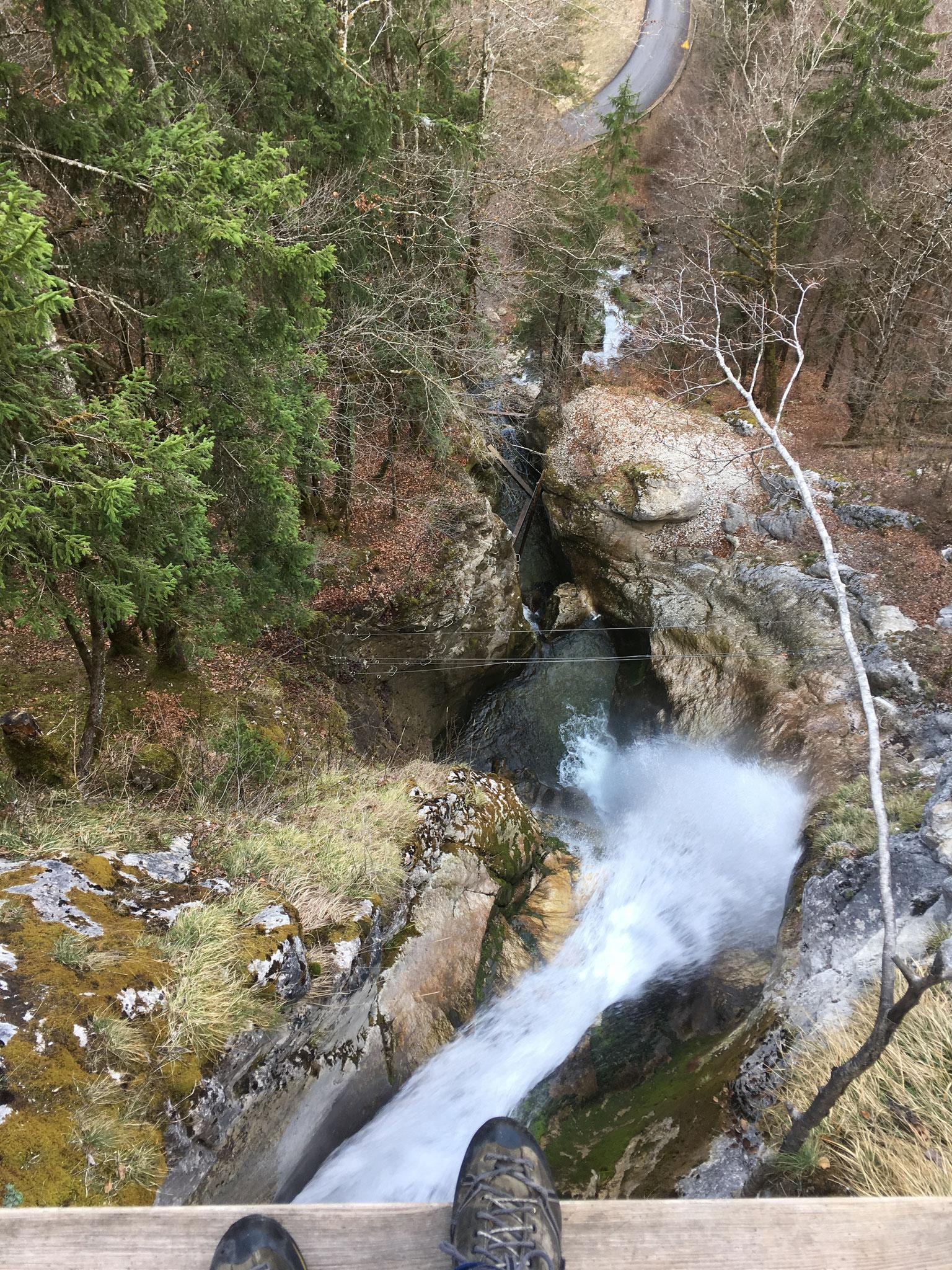 Depuis une poutre, vue plongeante sur La Cascade des Nants