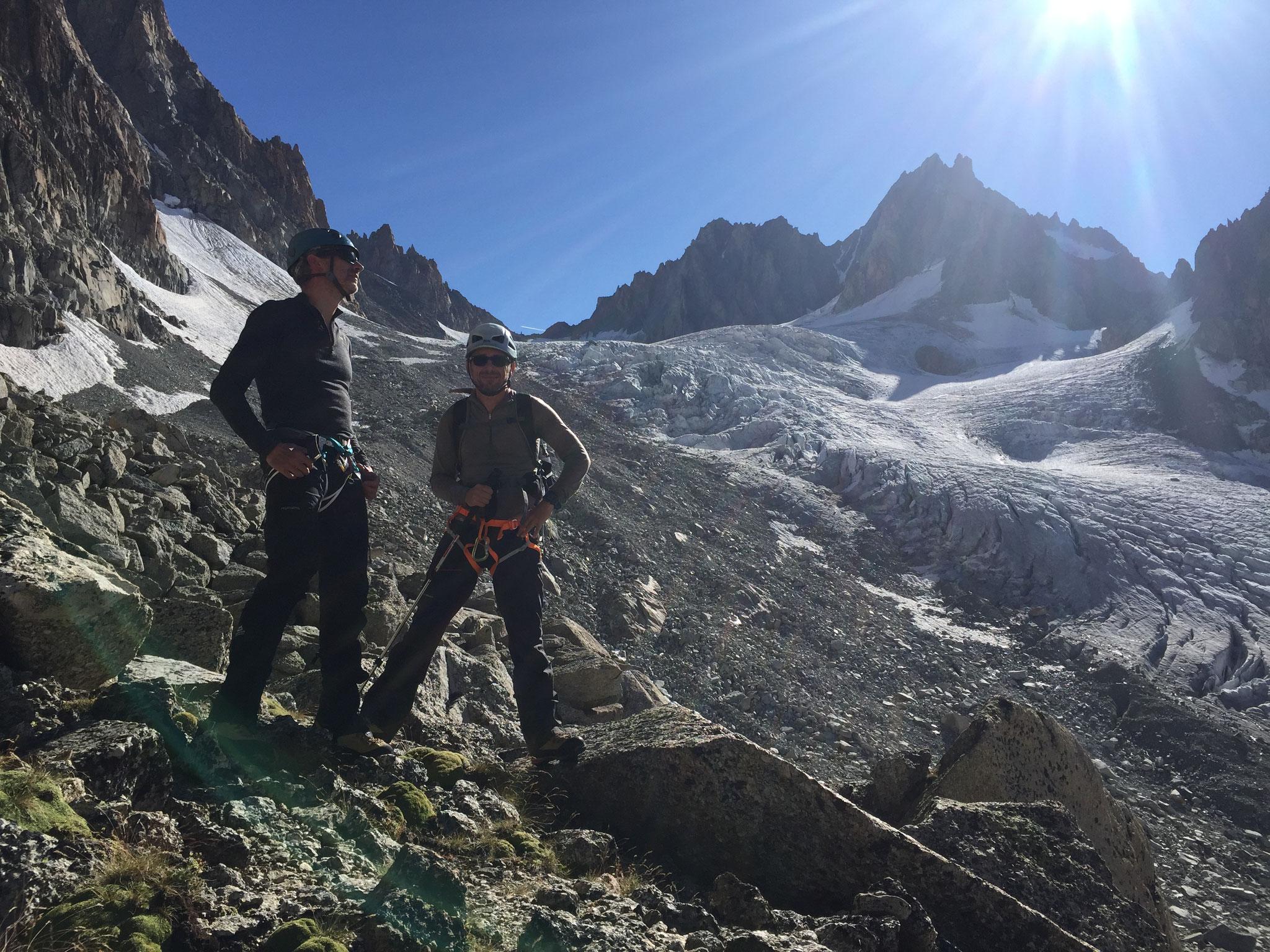 Au retour, pause au bord du Glacier des Améthystes