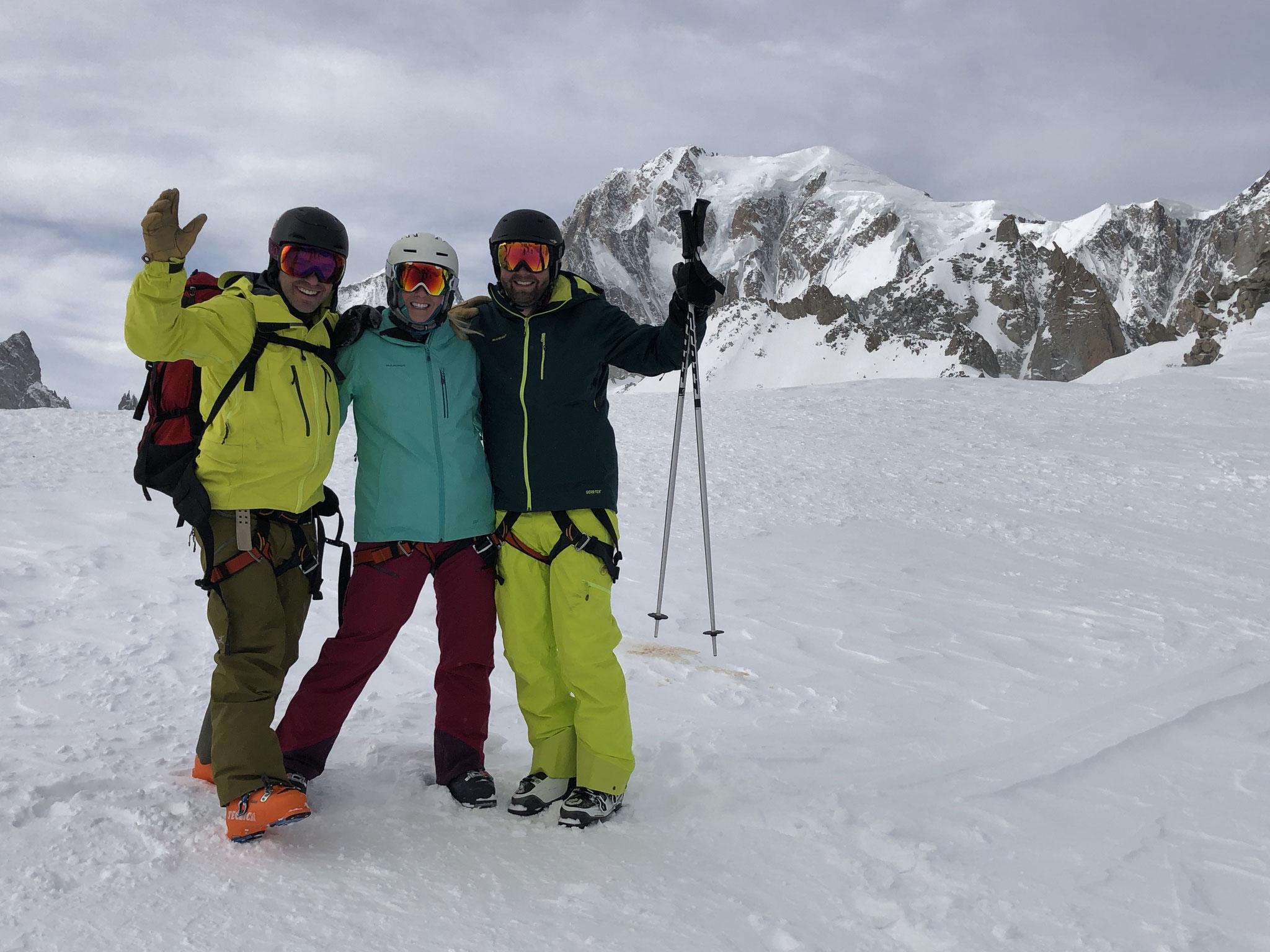 Ryan, Katherine et Andy vers la Pointe Hellbronner
