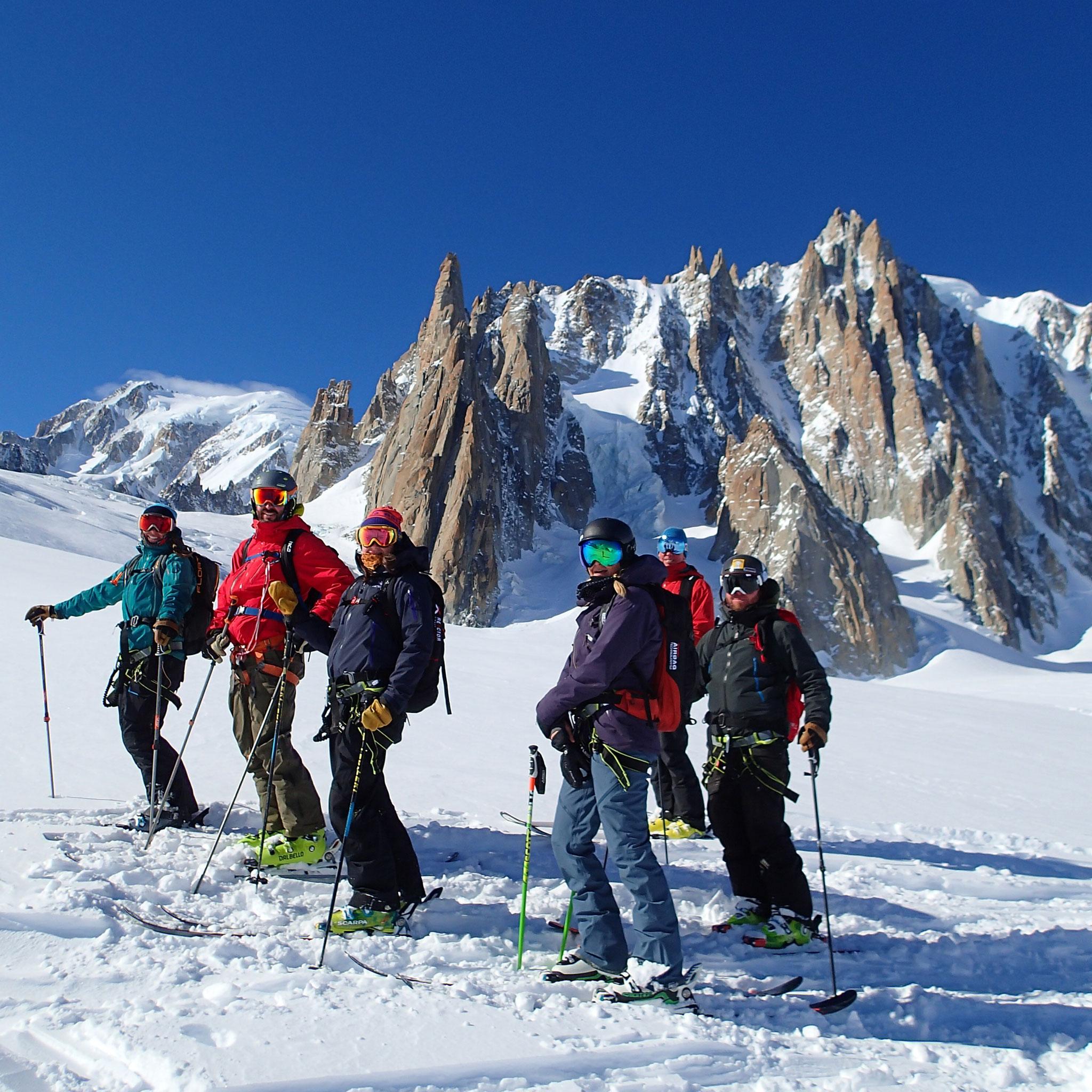 Sur le Glacier du Géant, avec le Mt-Blanc