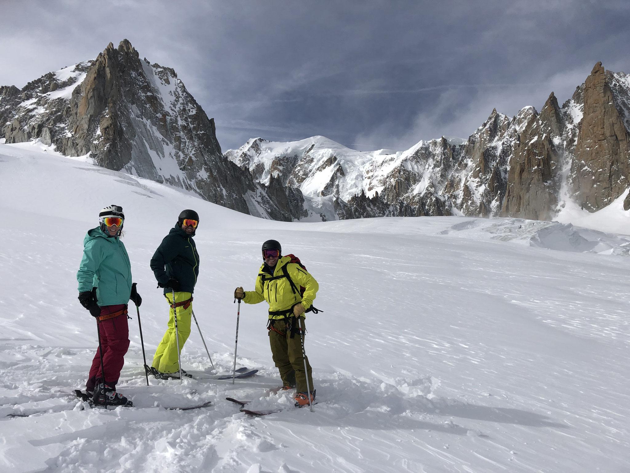 Sur le Glacier du Géant avec Mt-Blanc en fond