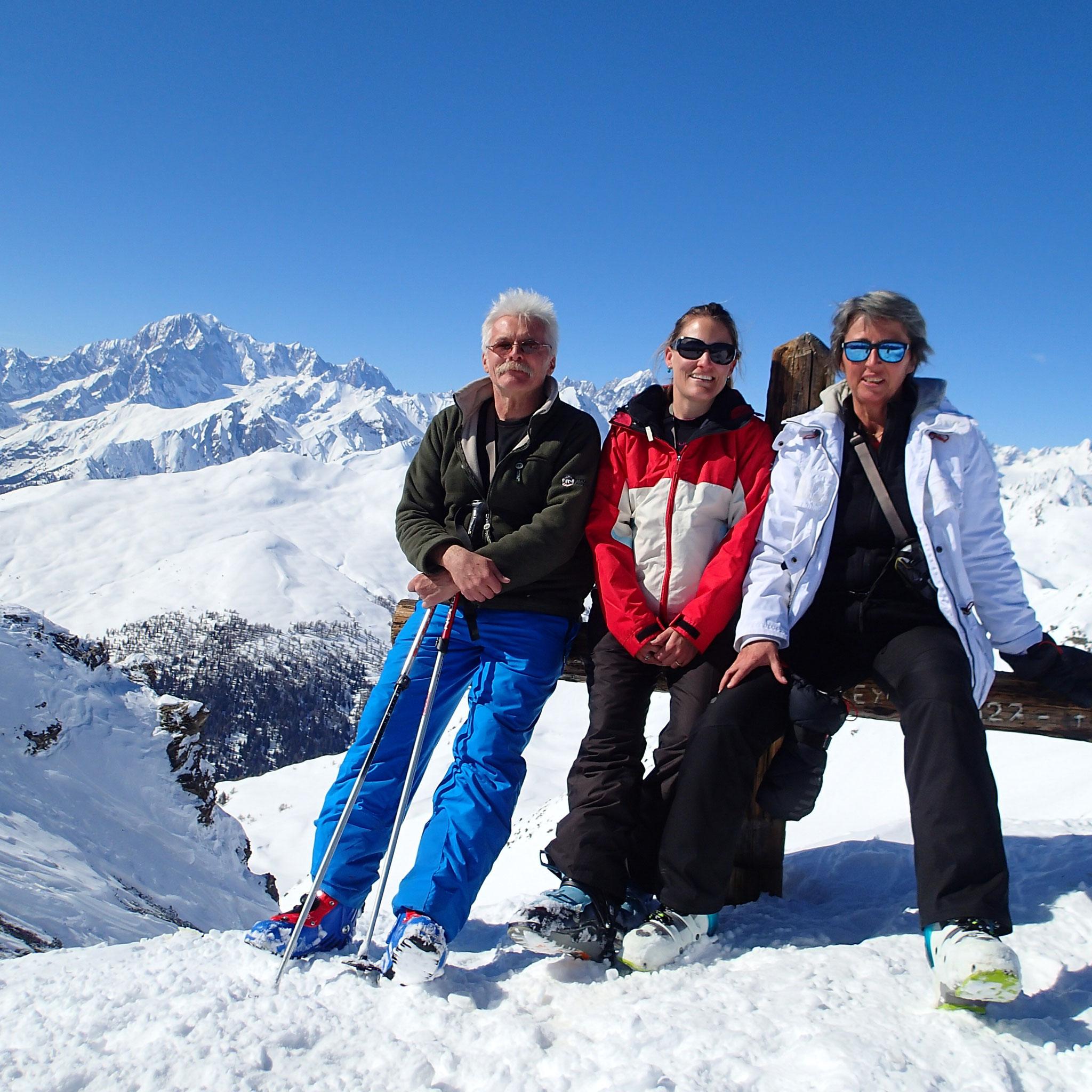 J-Michel, sa fille Aline et Elisabeth au sommet