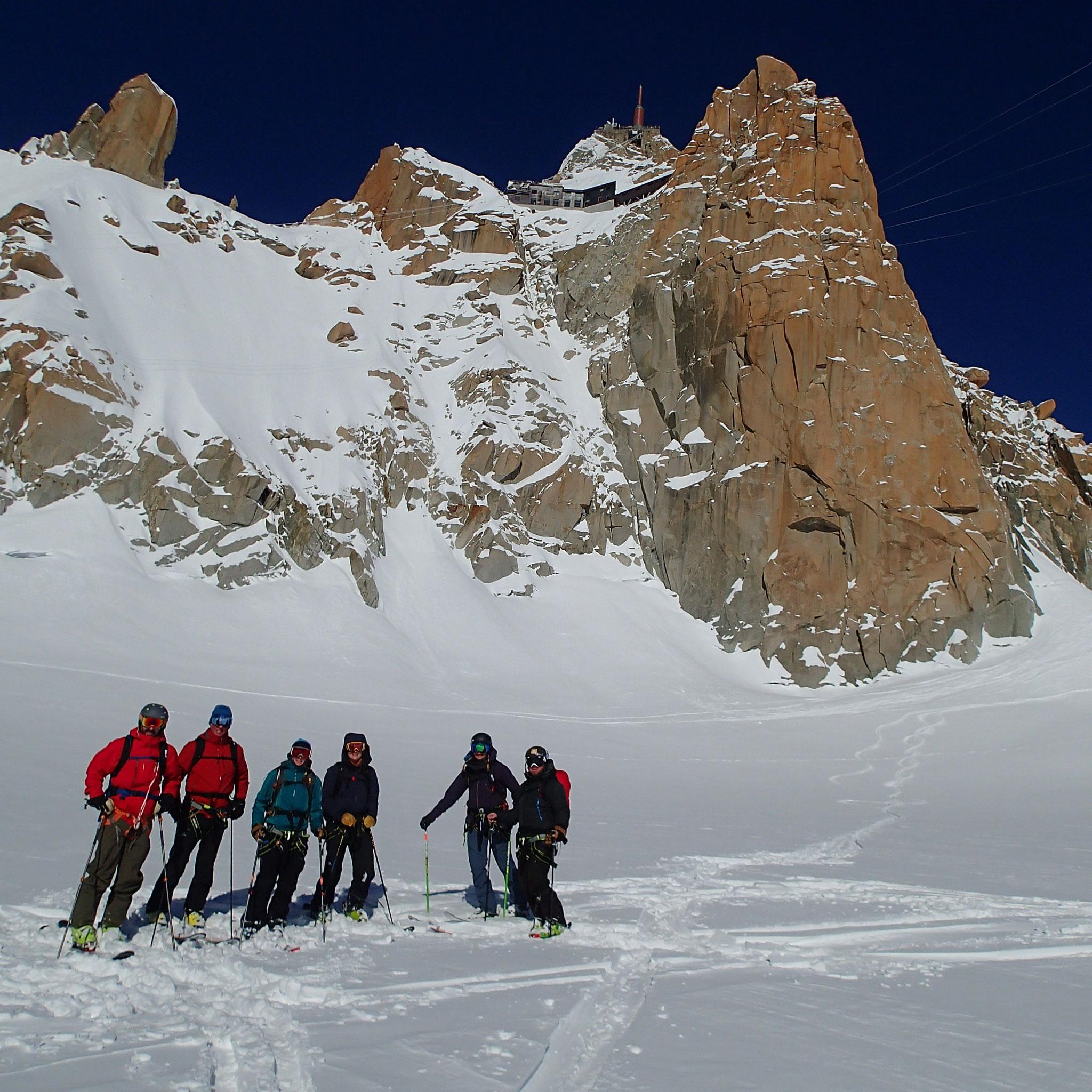 Amy, Mam, Jon et leurs amis au Col du Midi