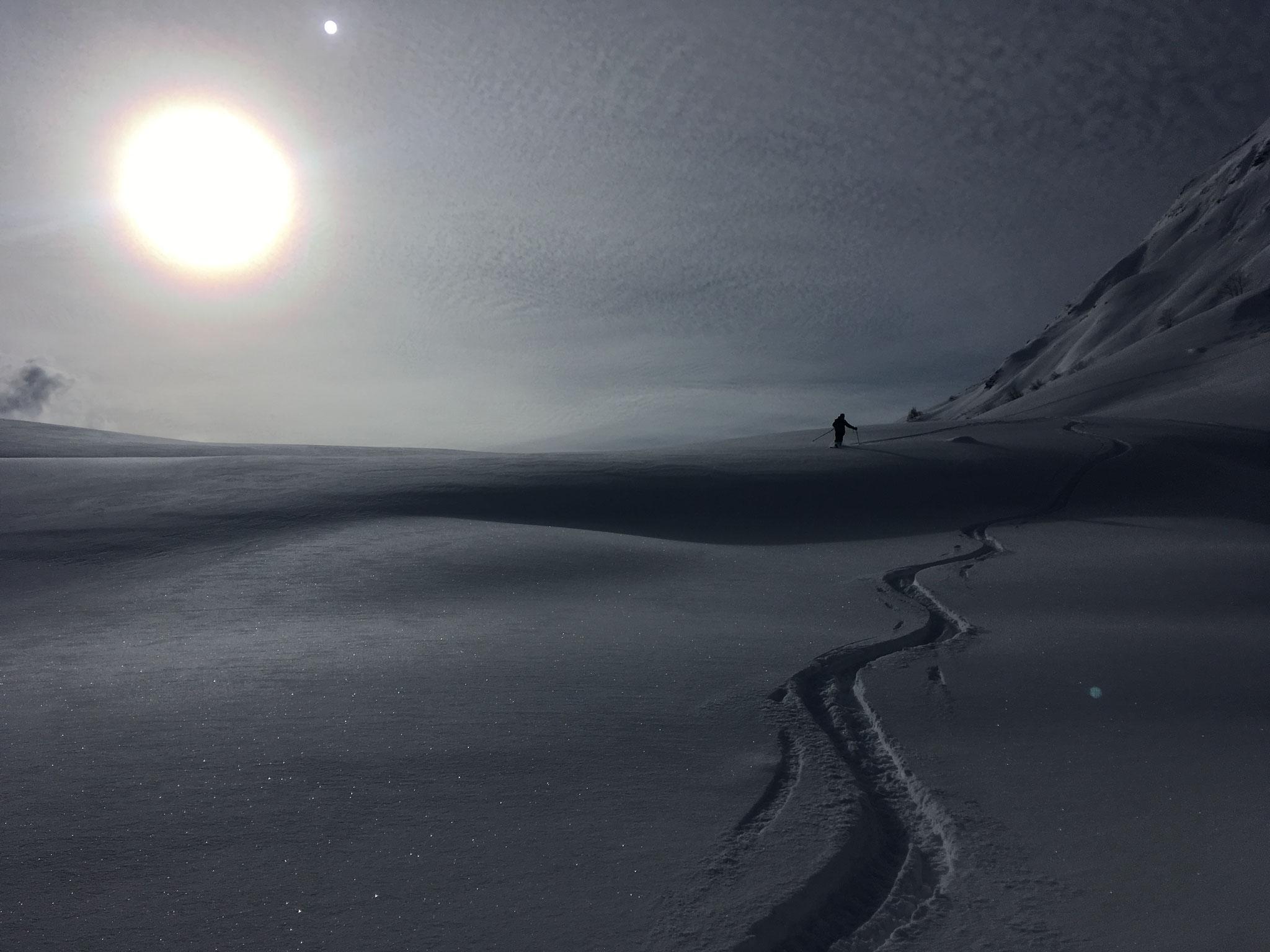 A la descente, lumière de neige irréelle