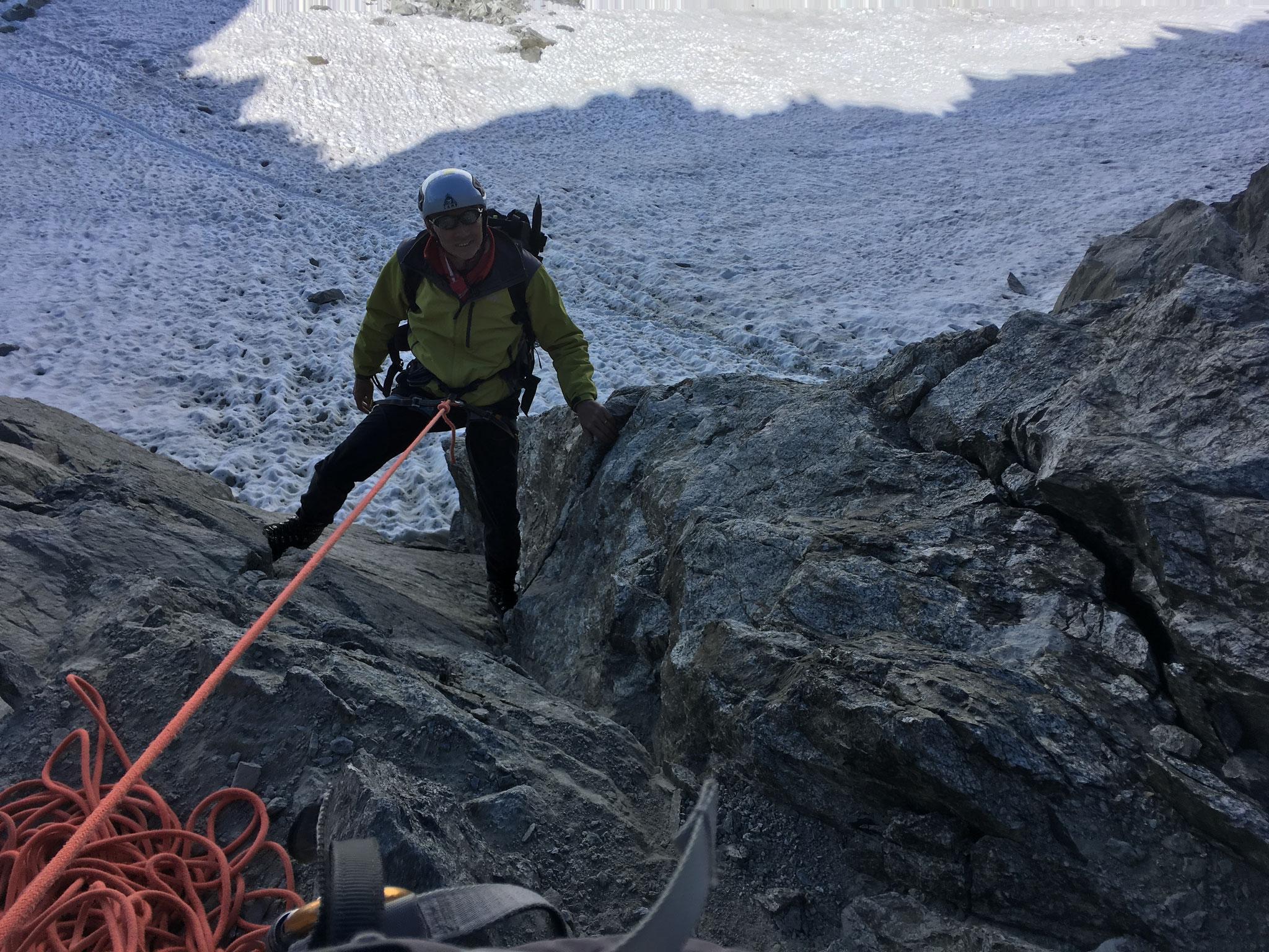 Le rappel pour reprendre contact avec le Glacier au retour