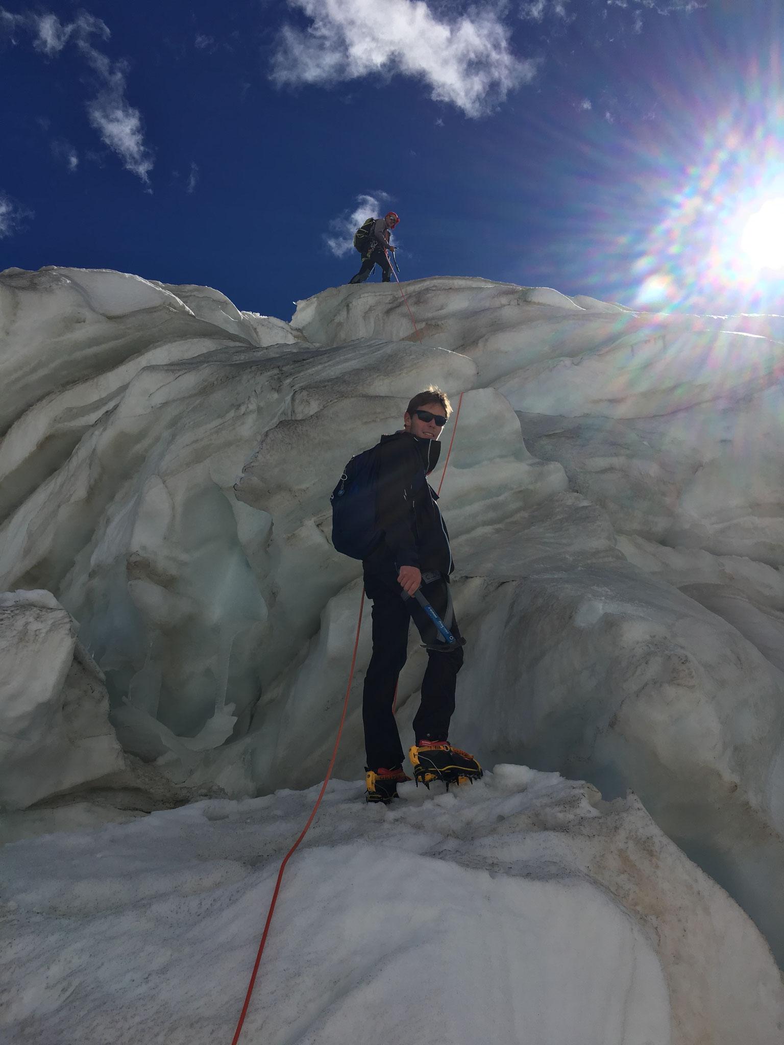 Fabio au coeur du glacier du Géant